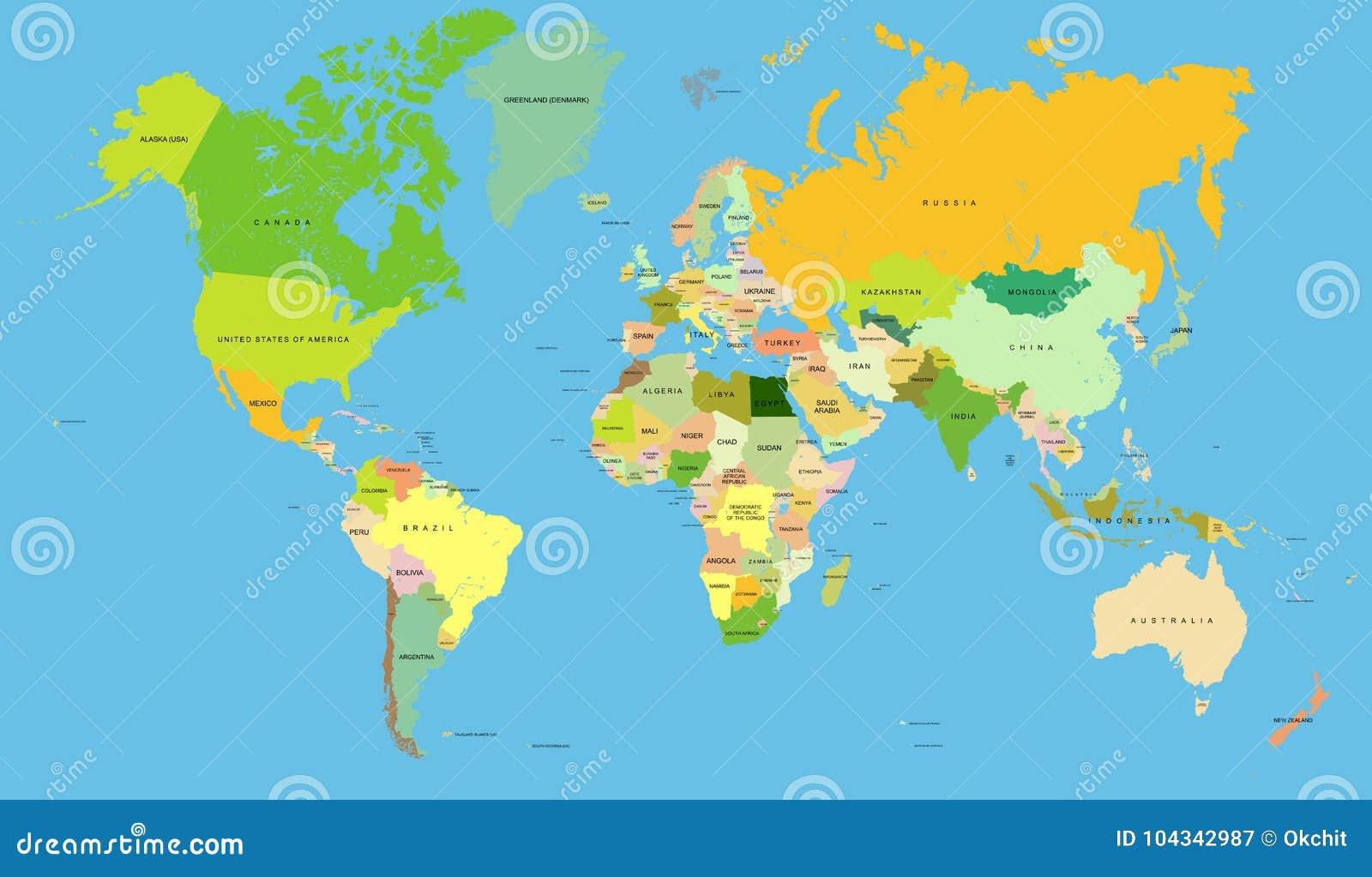 Carte détaillée du monde, vecteur