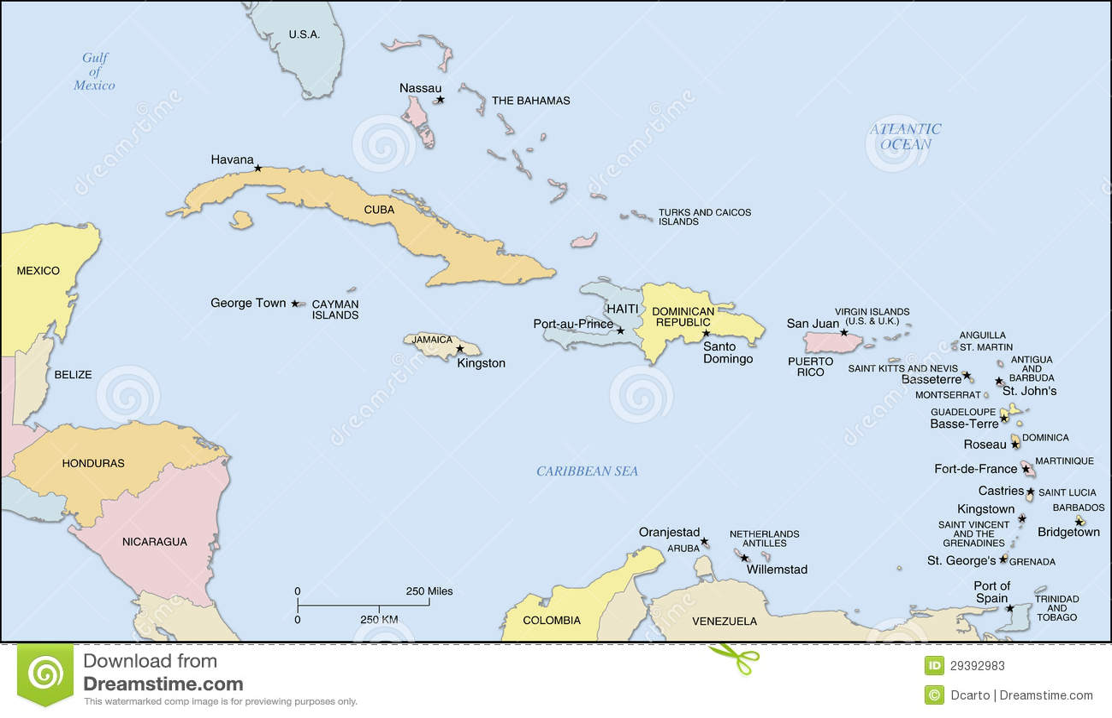 Bien-aimé Carte D'îles Des Caraïbes Photos stock - Image: 29392983 MM58