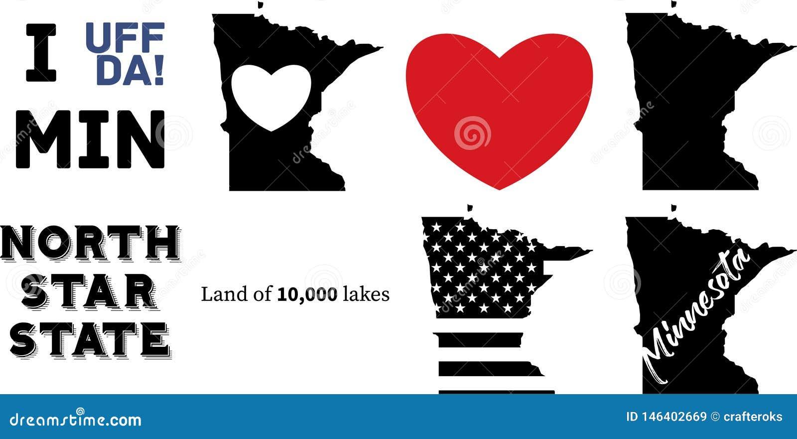 Carte d ?tat du Minnesota USA et le drapeau am?ricain