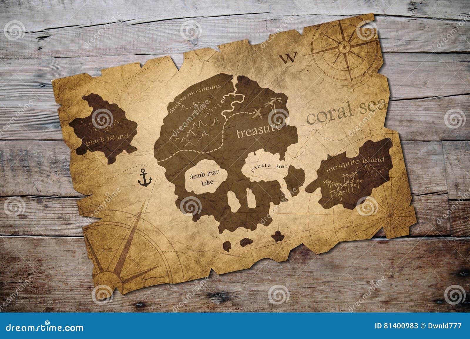 Carte D'île De Pirate Illustration Stock. Illustration Du Exploration