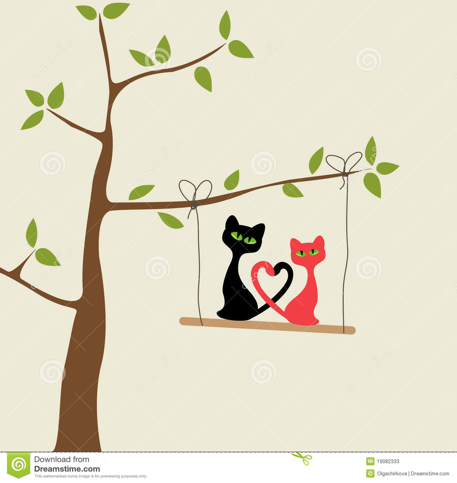 Carte d 39 amour avec des chats photos stock image 19082333 - Carte d amour ...