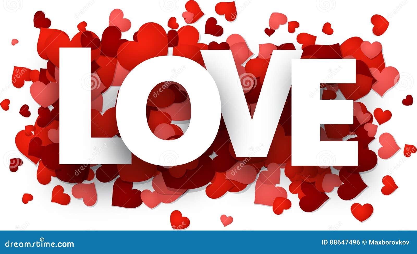Carte d amour avec des coeurs