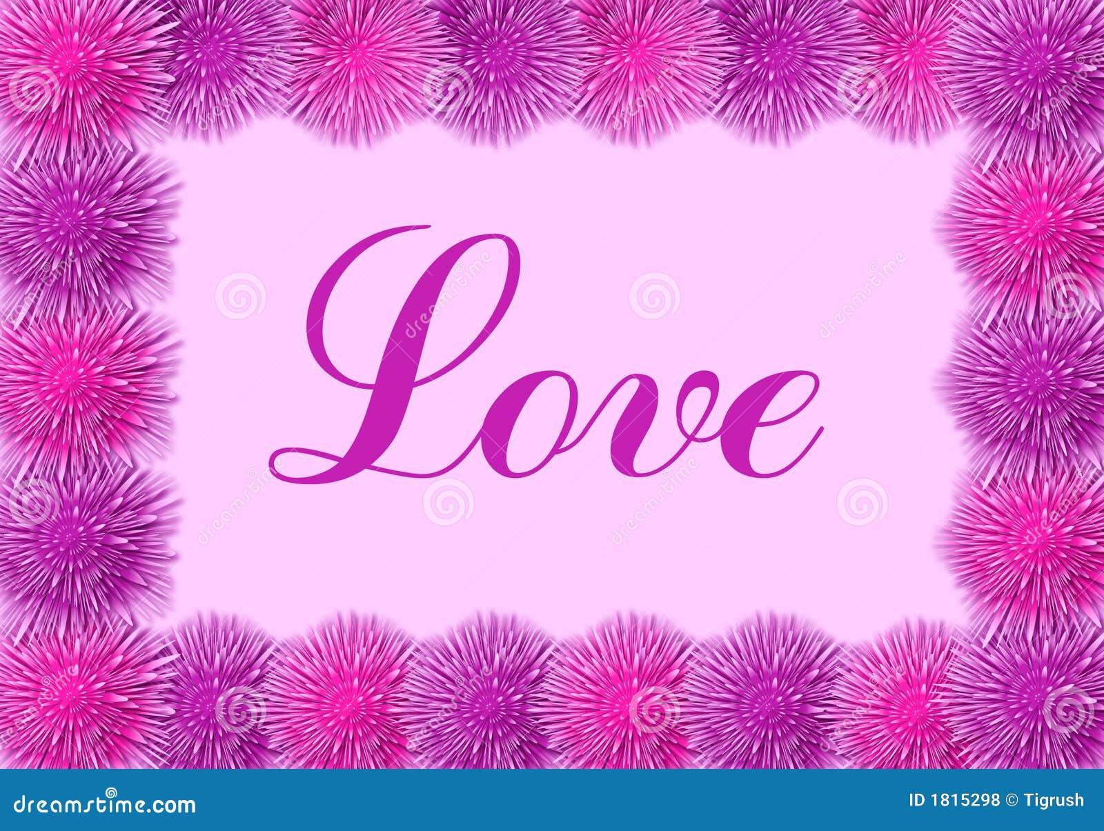 carte d 39 amour avec les fleurs roses illustration stock illustration du fleurs trame 1815298. Black Bedroom Furniture Sets. Home Design Ideas