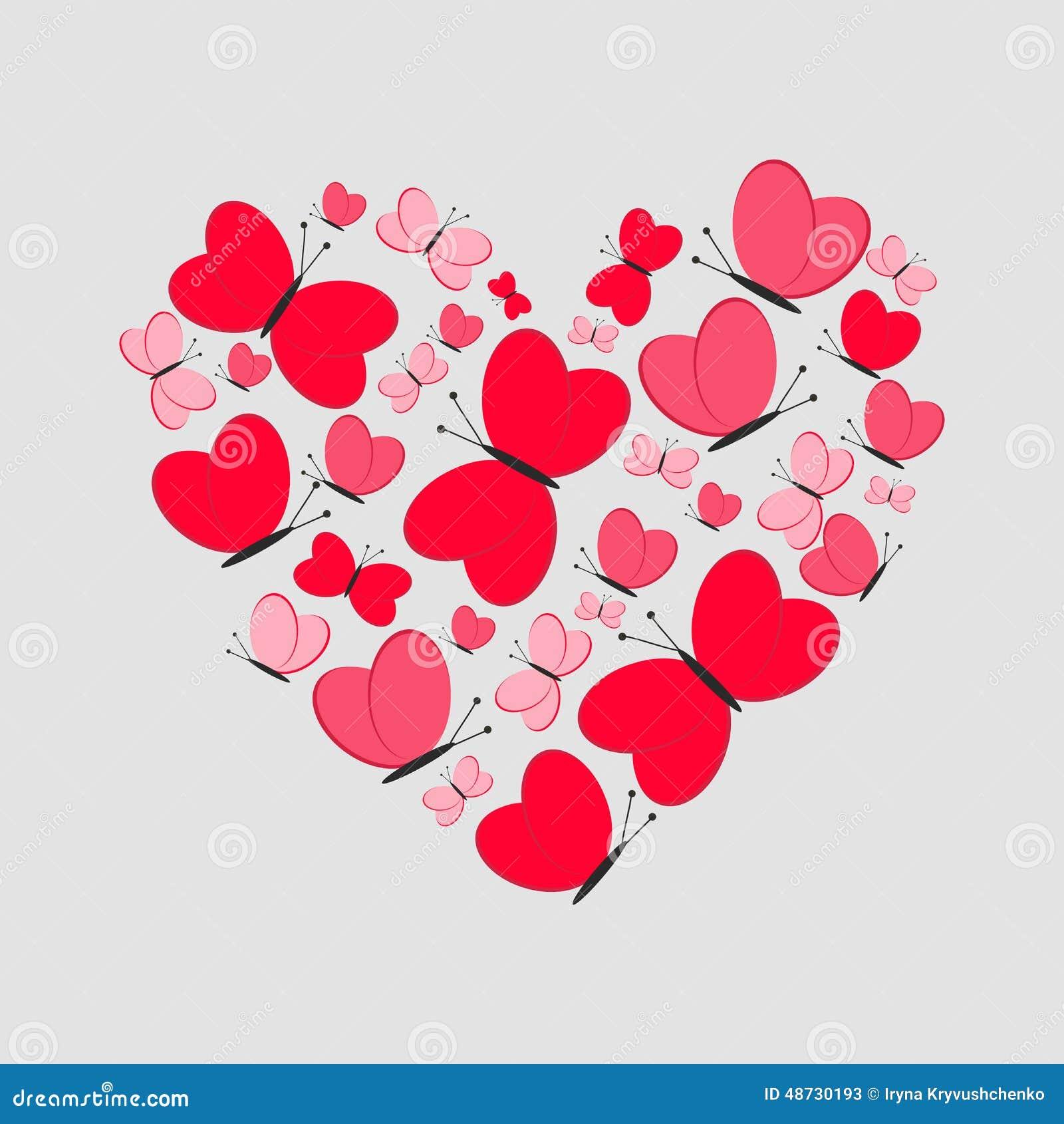 Carte D Amour Coeur Mignon Des Papillons Rouges