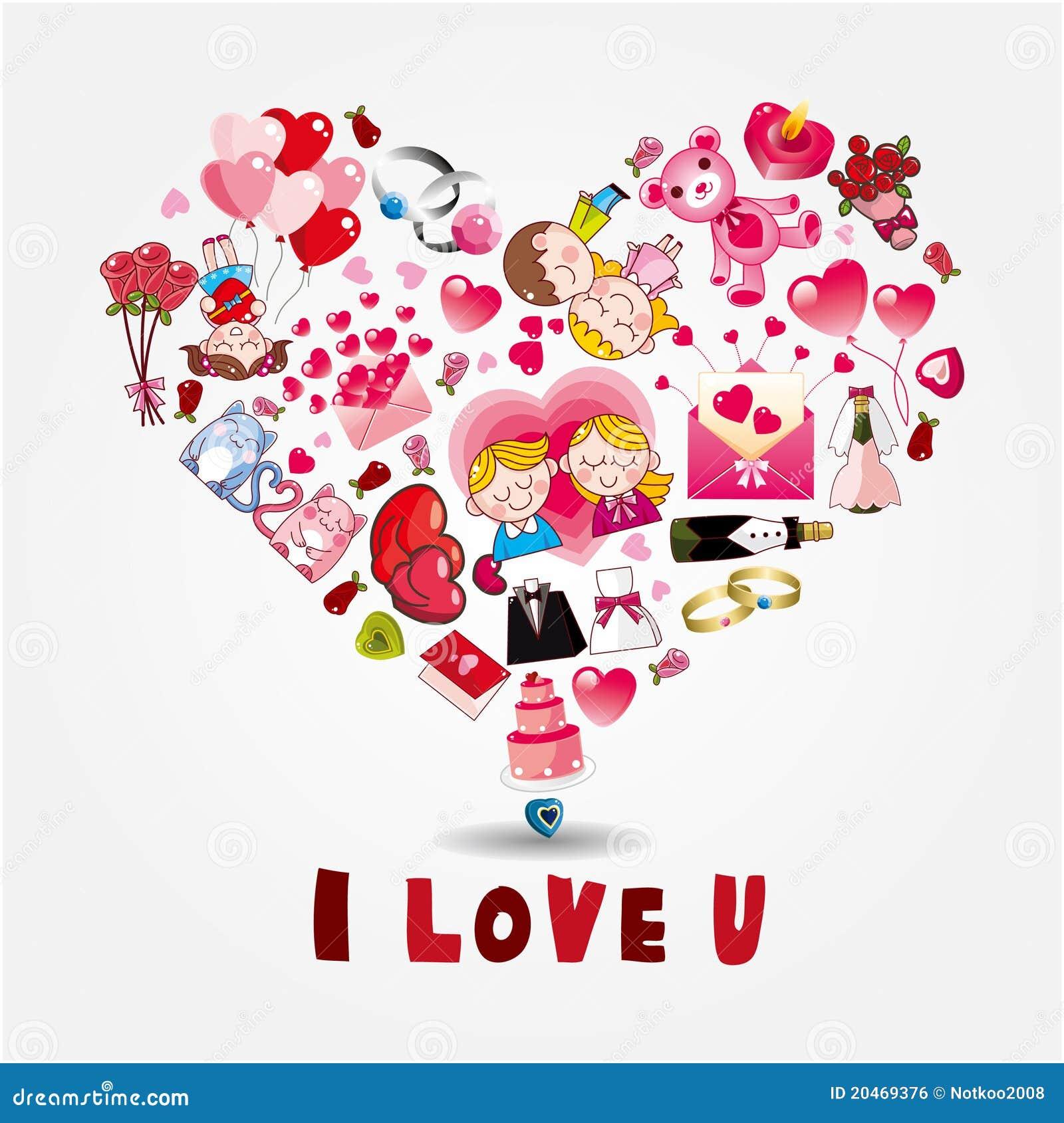Carte d 39 amour de dessin anim illustration de vecteur illustration du d coration bonheur - Carte d amour ...
