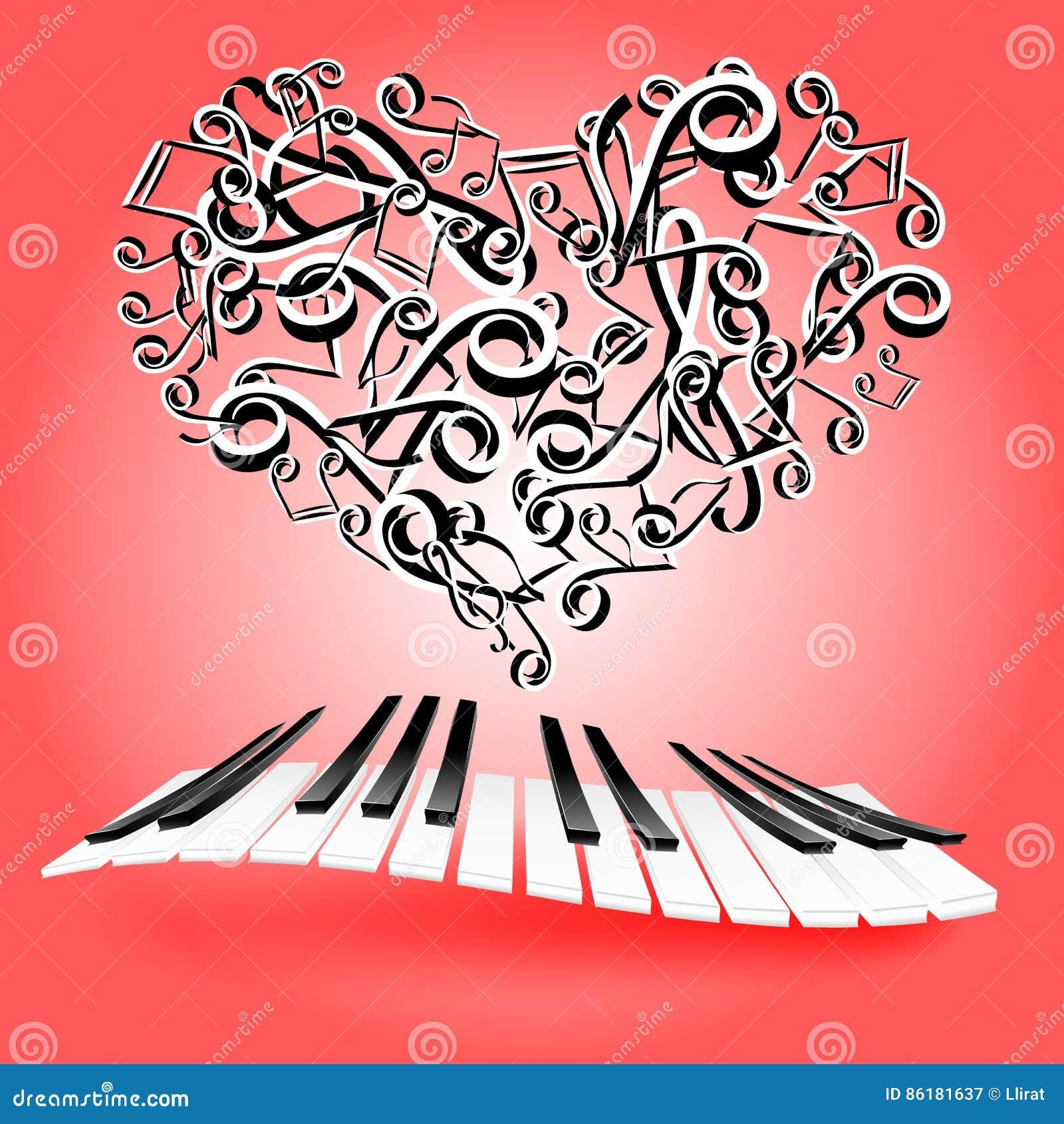 carte d 39 amour de st valentine avec des coeurs et des cl s de piano musique de lov illustration. Black Bedroom Furniture Sets. Home Design Ideas