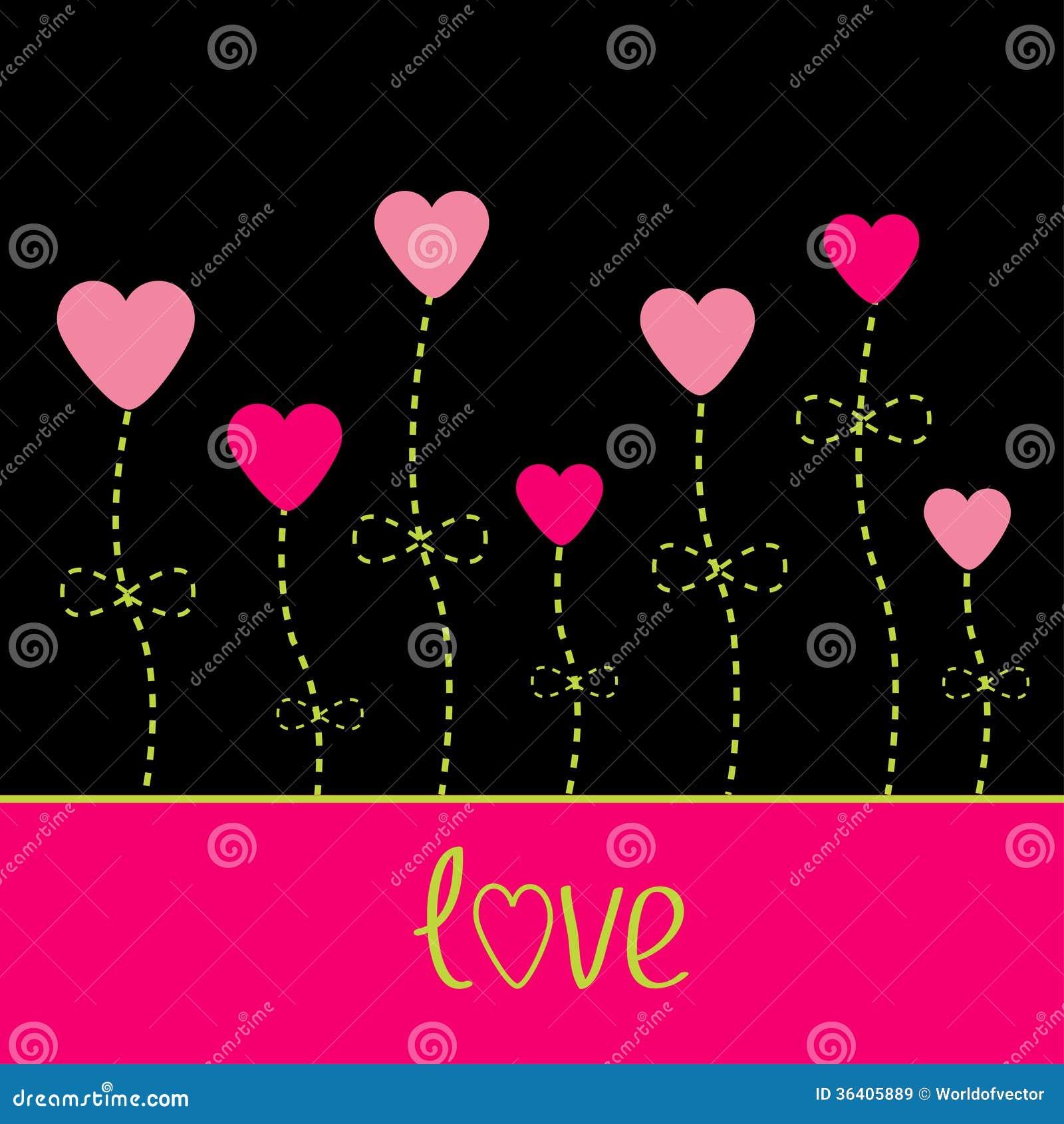 Carte d 39 amour de vecteur fleurs de coeur noir rose et g - Fleur au coeur noir ...