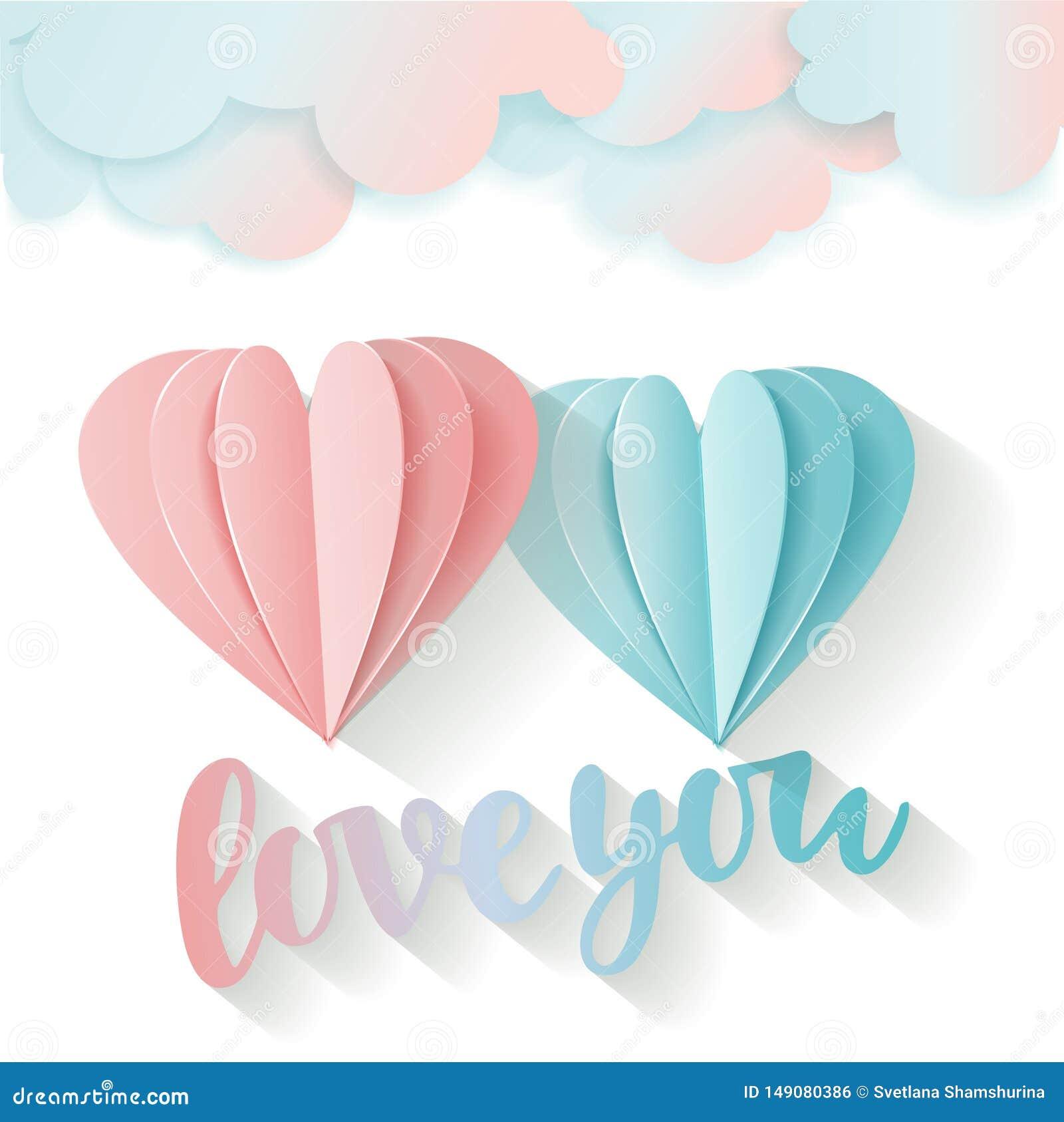 Carte d amour pour le jour du ` s de Valentine Amour de lettrage vous rose du vol 3D et coeur de papier bleu et nuages Deux coeur