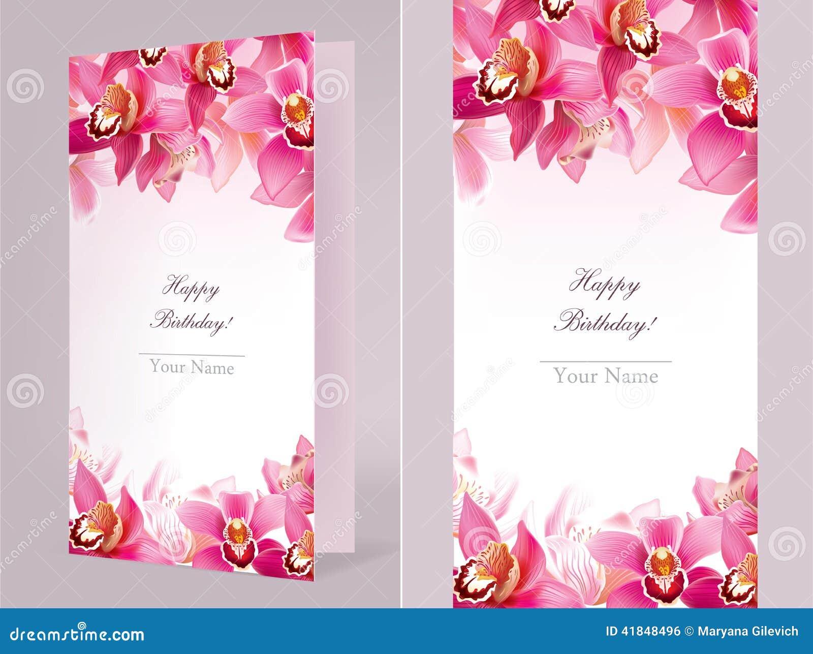 Carte D Anniversaire Elegante Avec L Orchidee Illustration De