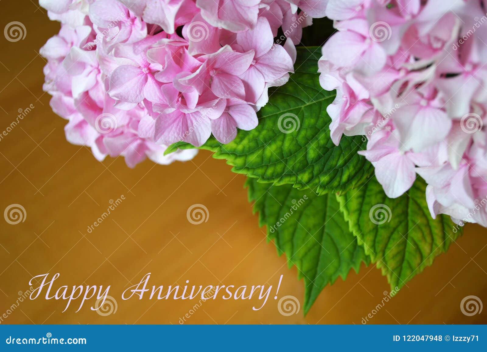 Carte D Anniversaire Avec Des Fleurs D Hortensia Photo Stock