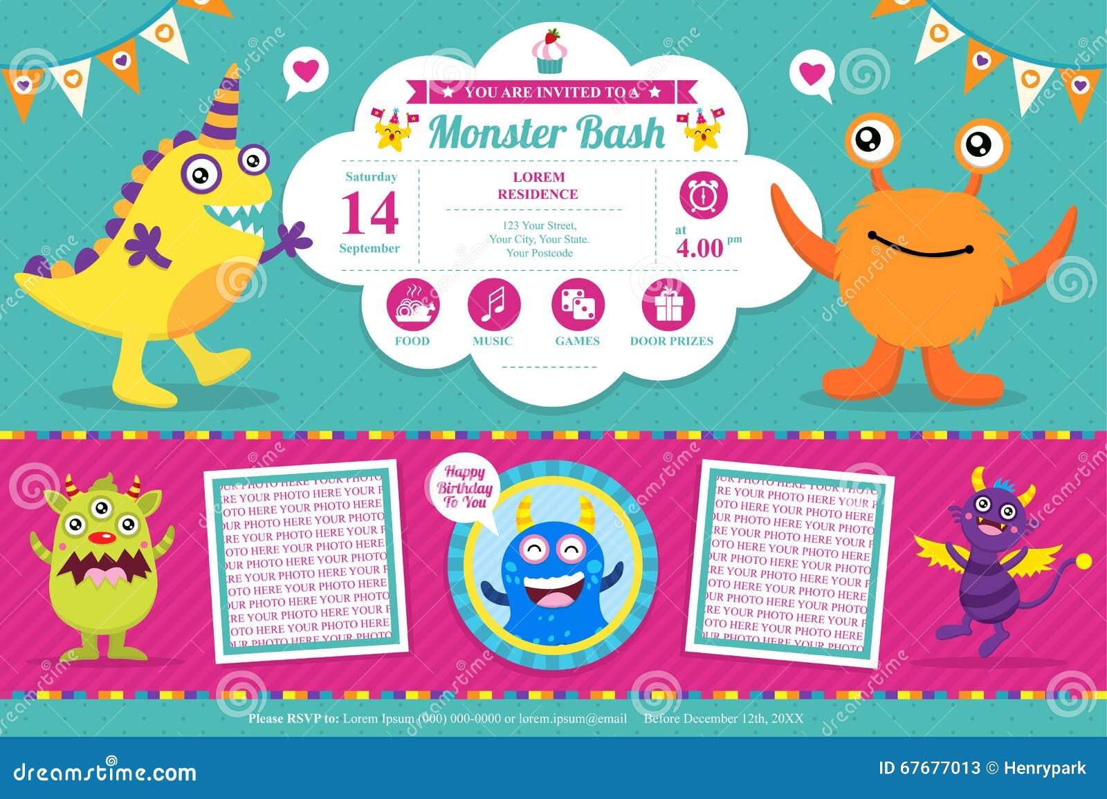 Carte d 39 anniversaire mignonne d 39 invitation de monstre illustration de vecteur image 67677013 - Carte invitation anniversaire monstre ...