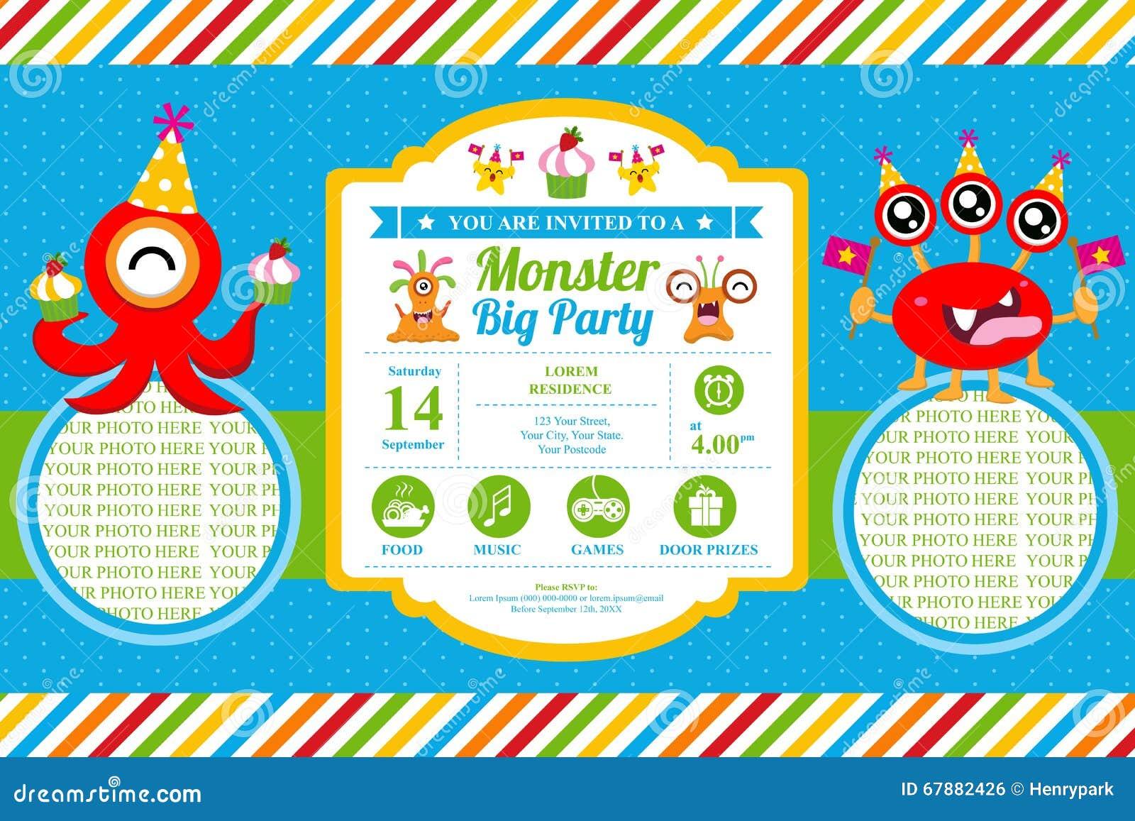 Carte d 39 anniversaire mignonne d 39 invitation de monstre illustration de vecteur image 67882426 - Carte invitation anniversaire monstre ...