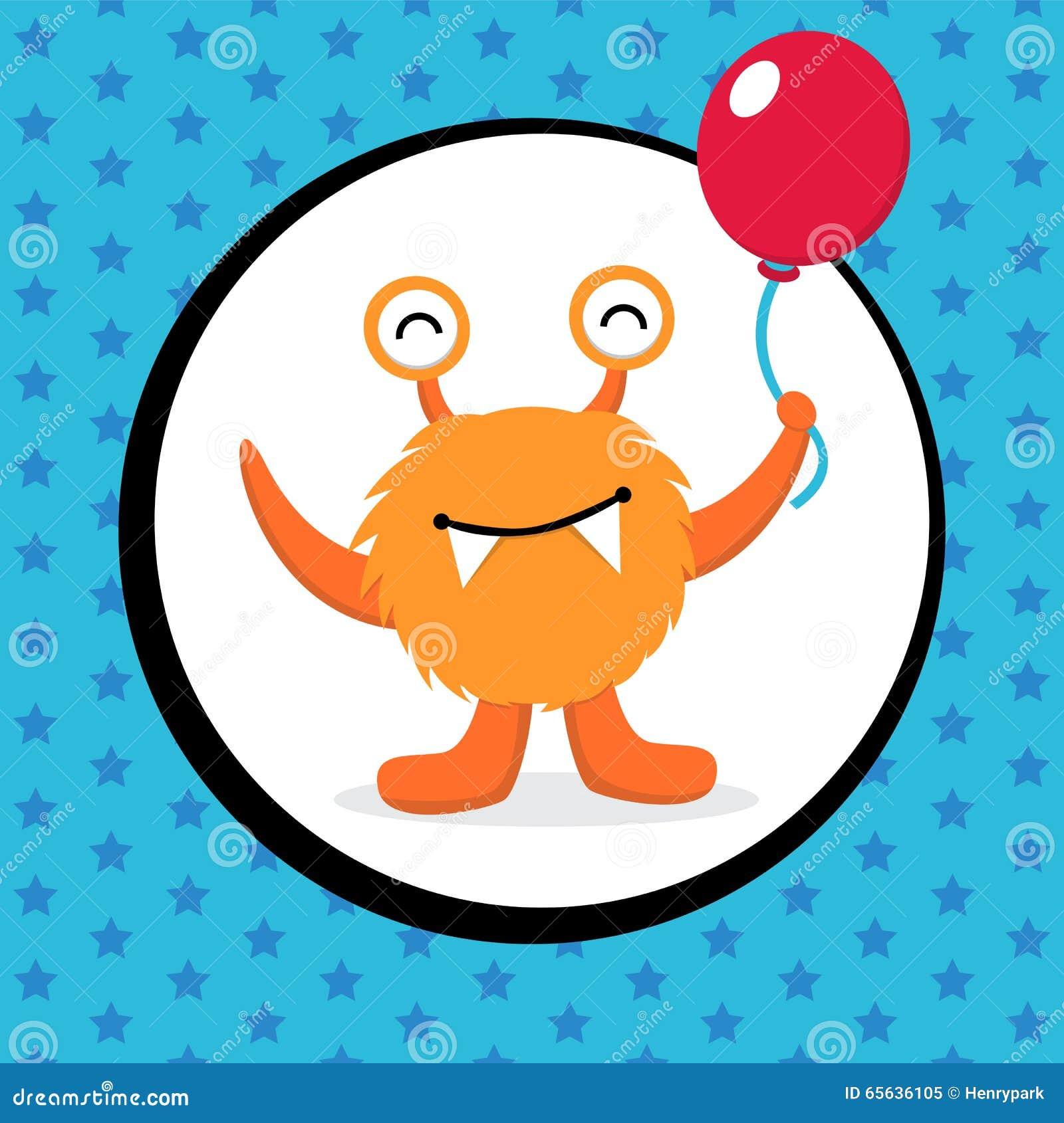 Carte d anniversaire mignonne de monstre