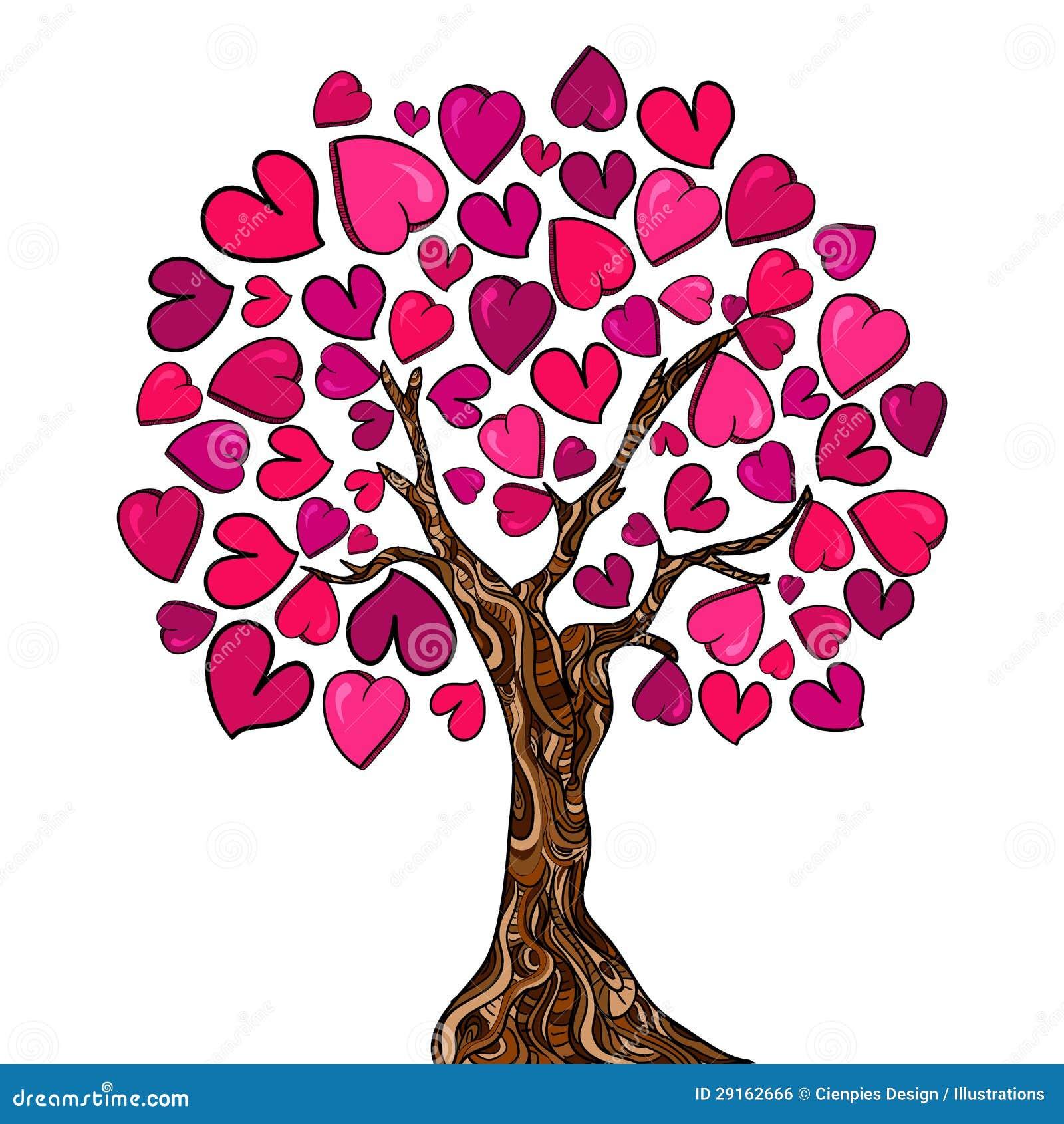 Carte d 39 arbre de concept d 39 amour illustration de vecteur - Clipart amour ...