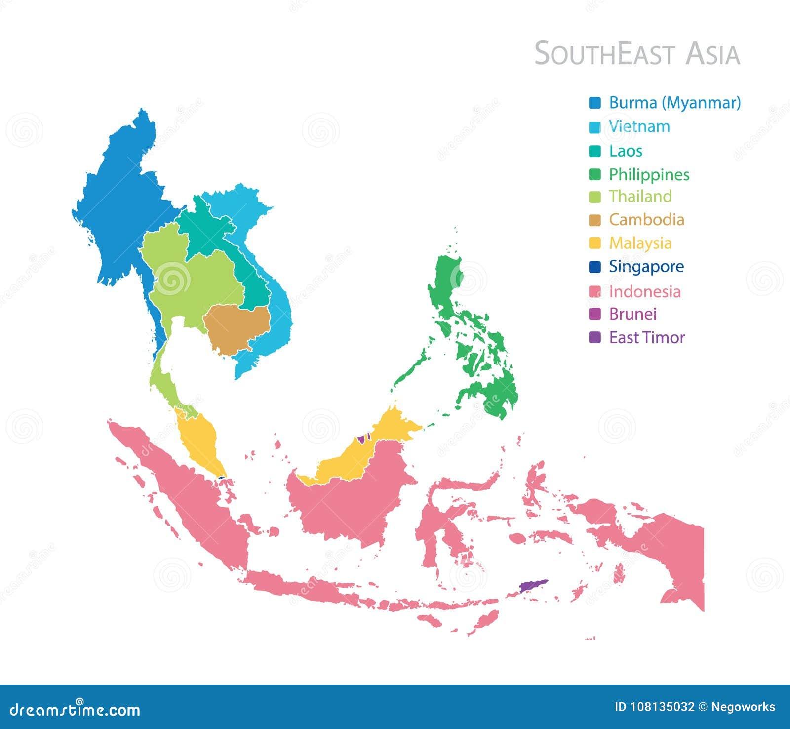 Carte d Asie du Sud-Est