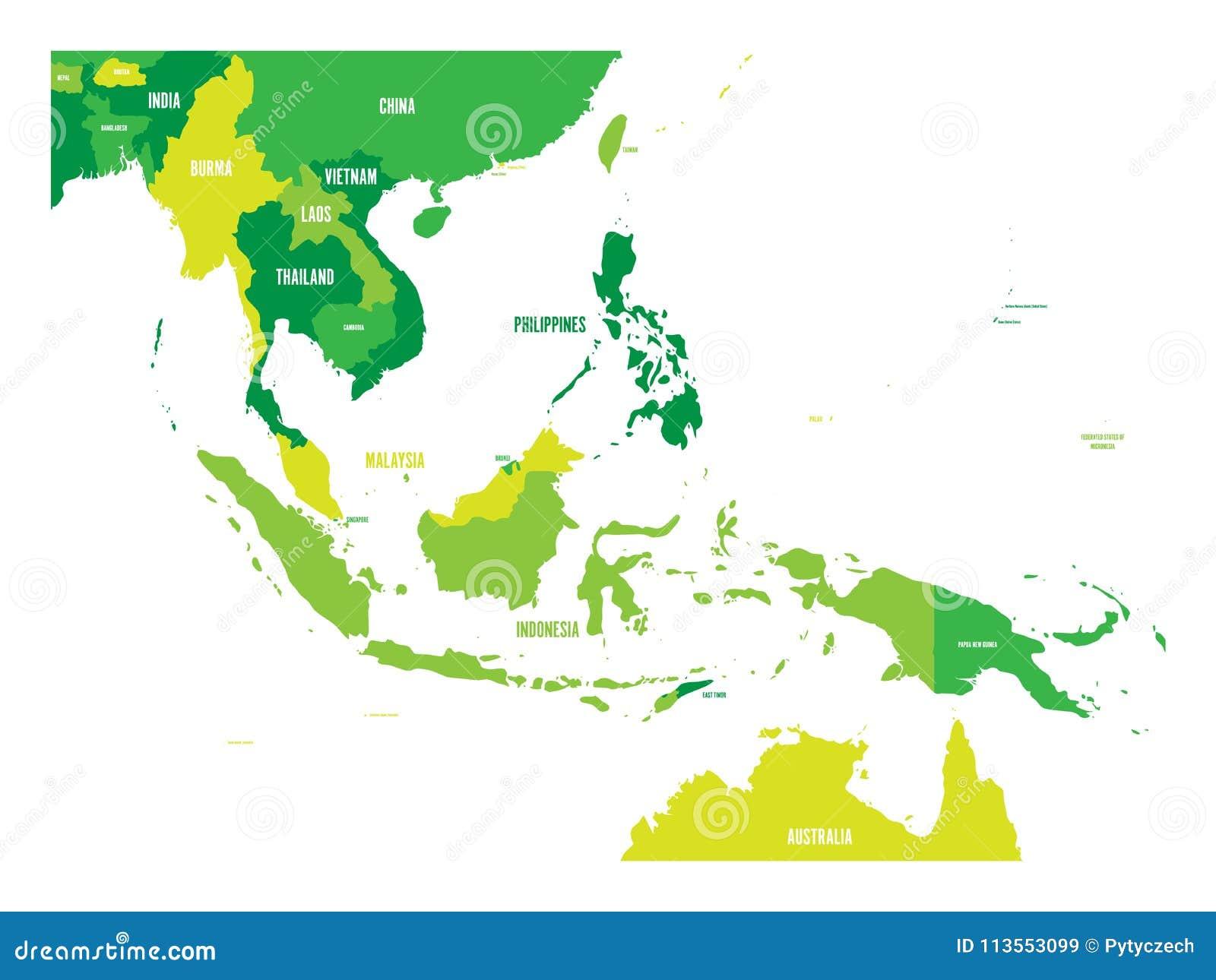 Carte d Asie du Sud-Est Carte de vecteur aux nuances du vert