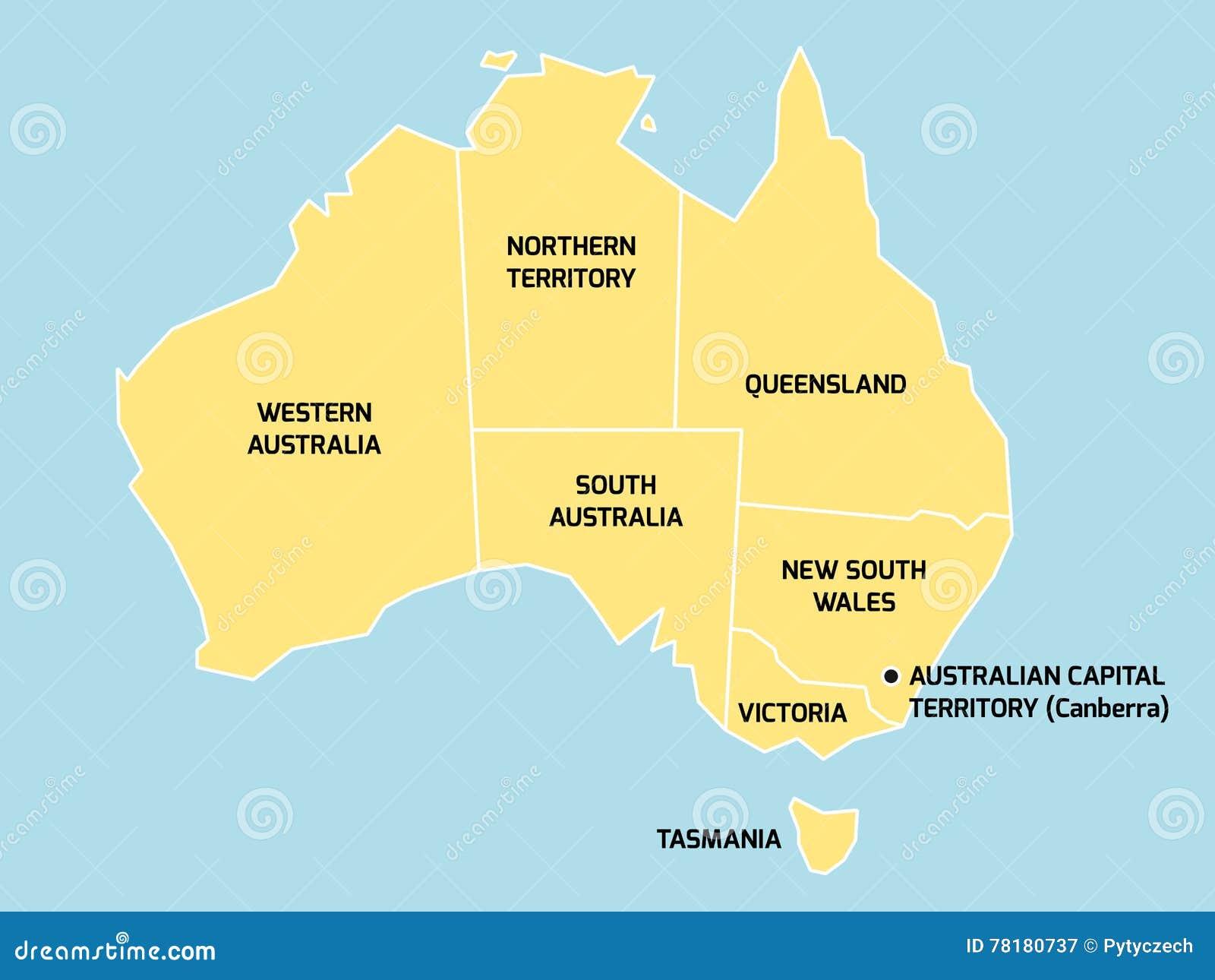 Carte Australie Etat.Carte D Australie Avec Des Etats Et Des Territoires