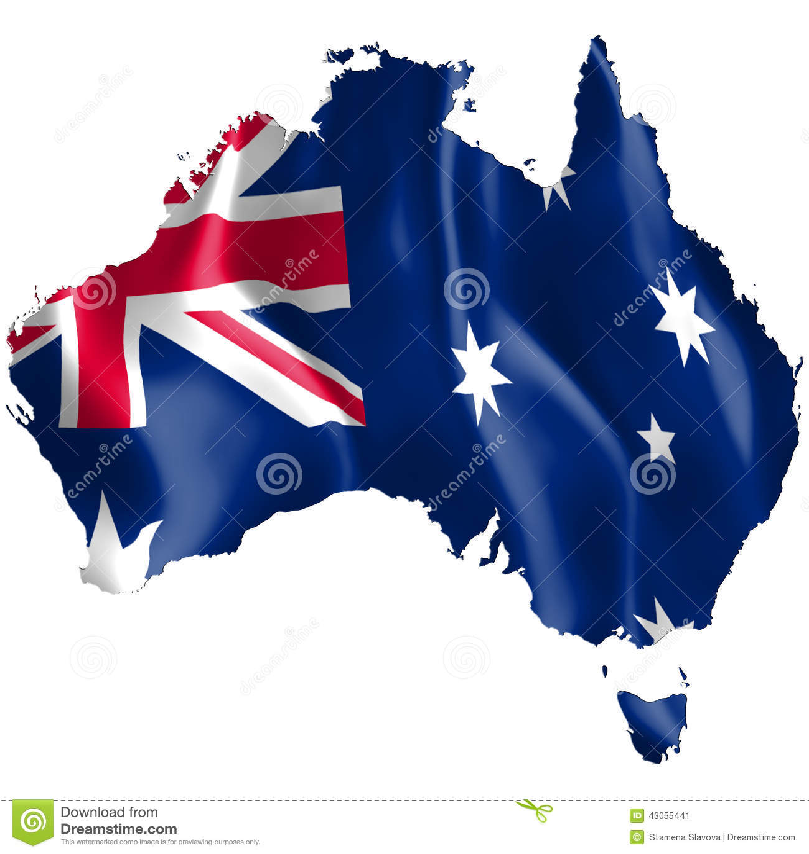 Carte Australie Drapeau.Carte D Australie Avec Le Drapeau De Ondulation Illustration
