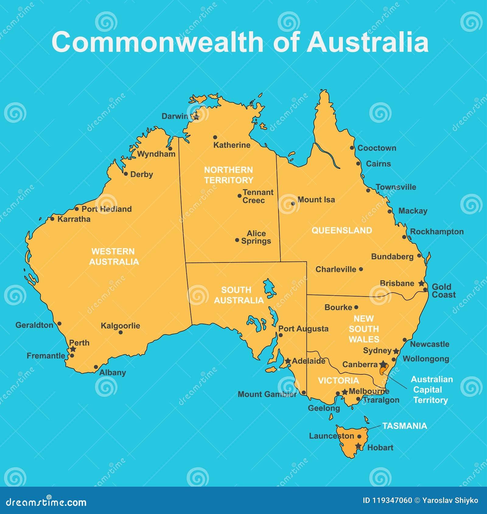 carte de l australie avec les villes Carte D'Australie Avec Les Villes Importantes, Illustration De