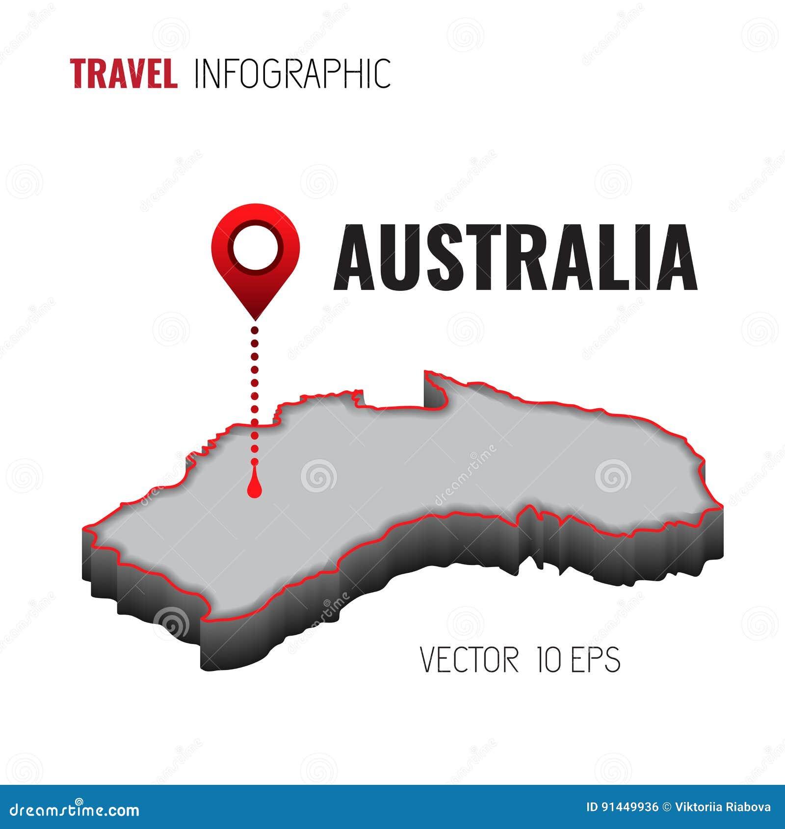 Carte Gps Australie.Carte 3d De L Australie Gps Goupille De Navigateur Verifiant La