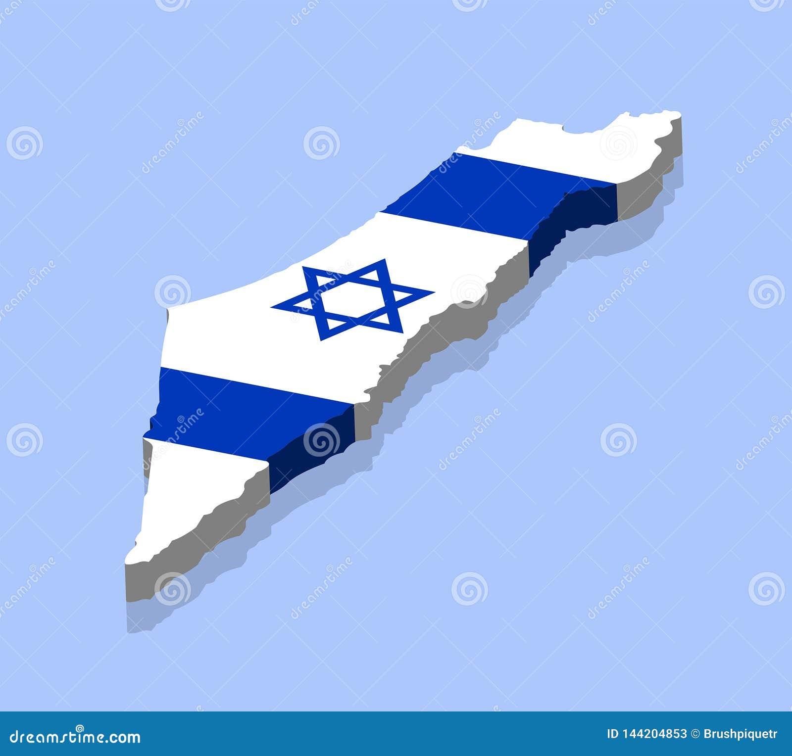 Carte 3D de l Israël avec le drapeau israélien