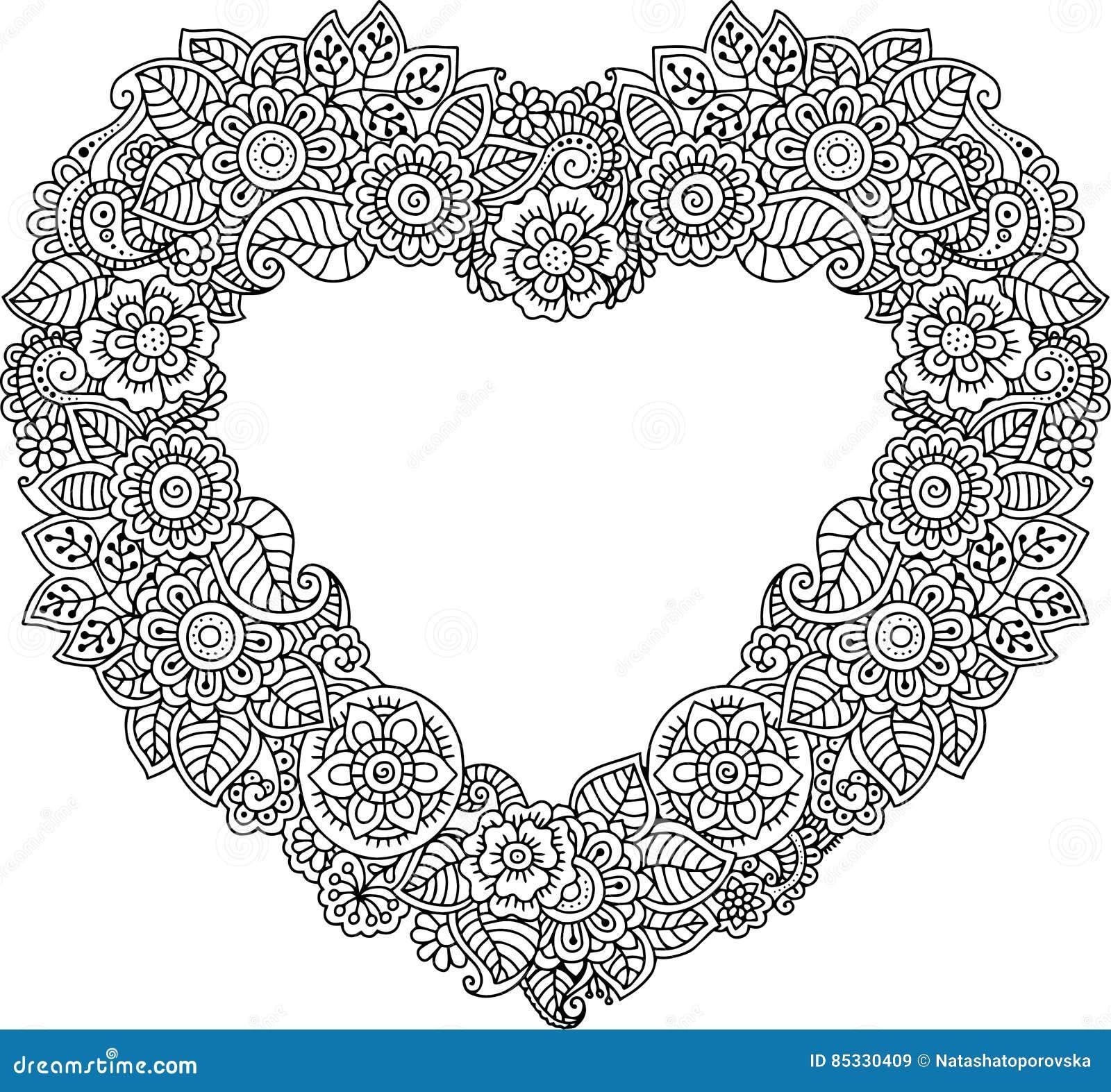 Carte d 39 en forme de coeur avec des fleurs livre de coloriage de vecteur pour l 39 adulte carte de - Dessin en forme de coeur ...