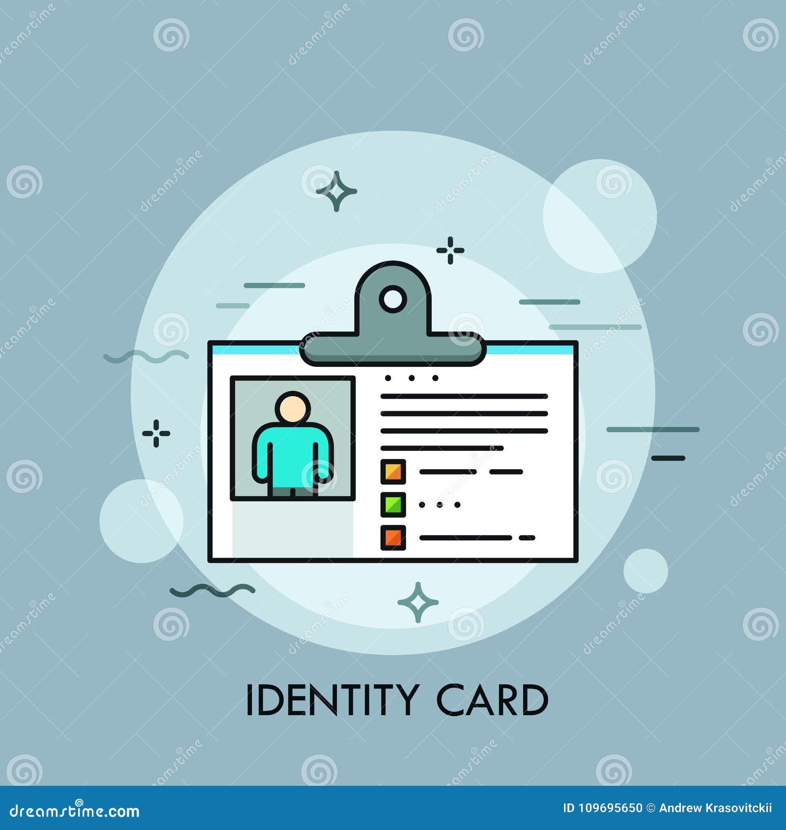 Carte d identité en plastique, identification ou passeport avec la photo Concept d identification ou d authentification personnel
