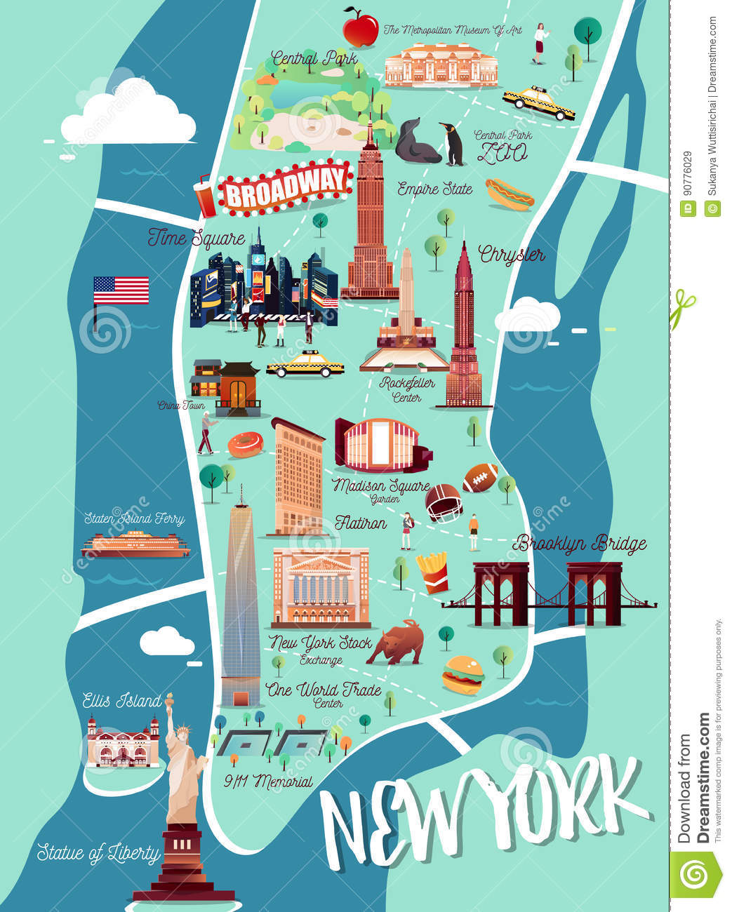 carte d 39 illustration de new york manhattan illustration de. Black Bedroom Furniture Sets. Home Design Ideas