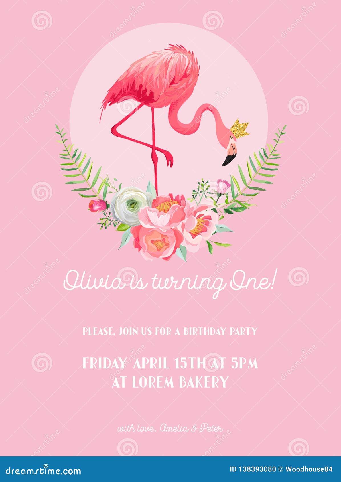 Carte d invitation d anniversaire de bébé avec l illustration du beaux flamant et fleurs, annonce d arrivée, salutations