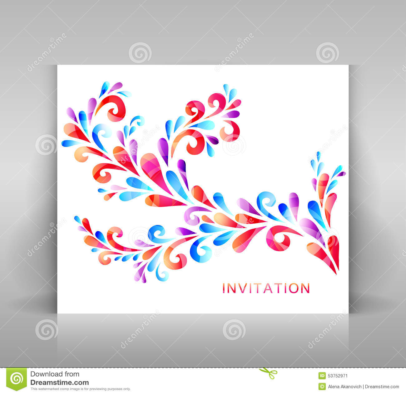 carte d 39 invitation avec la d coration florale photo stock image 53752971. Black Bedroom Furniture Sets. Home Design Ideas