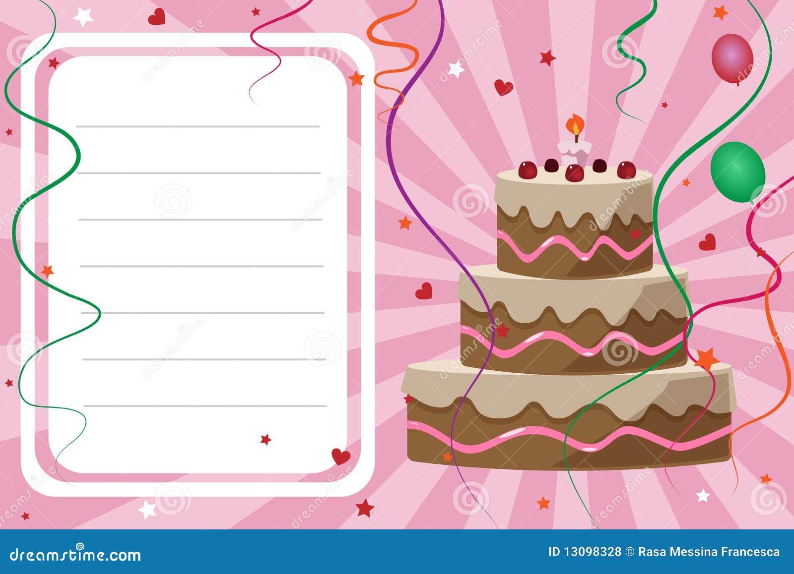 Carte D Invitation D Anniversaire Fille Illustration De Vecteur