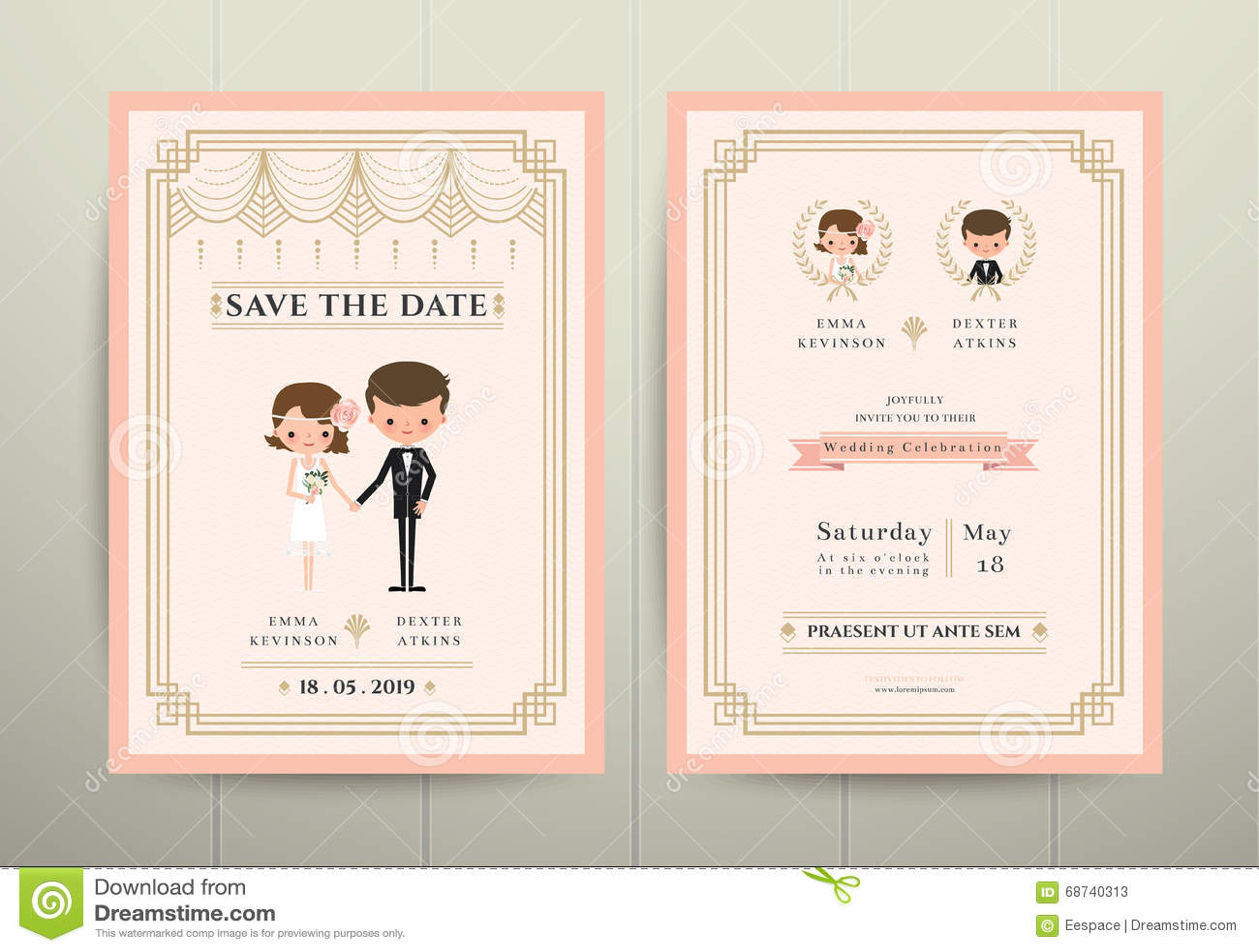 Carte d invitation d Art Deco Cartoon Couple Wedding