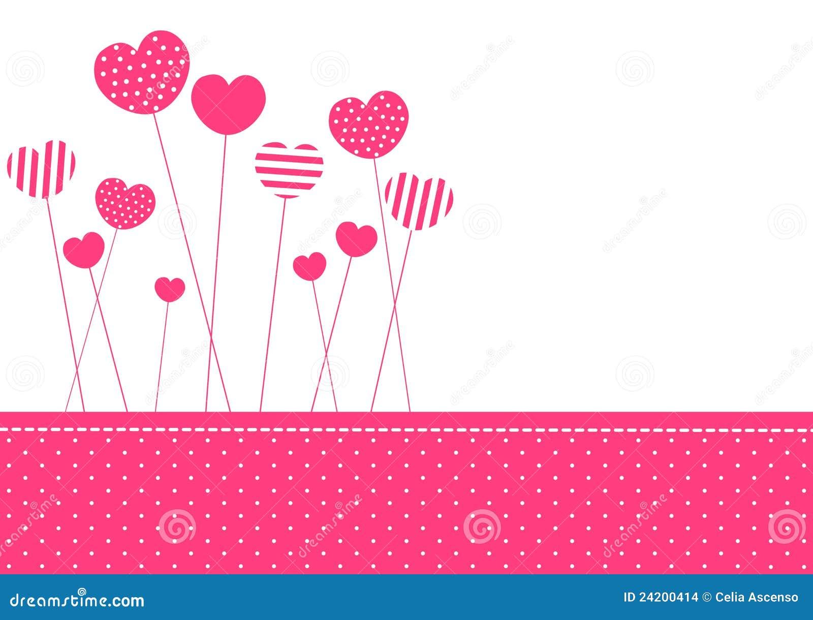 Carte d invitation de coeurs modelée par rose