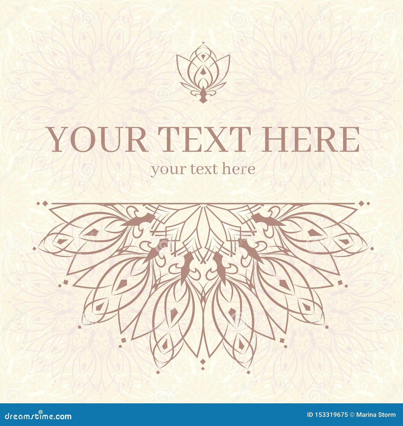 Carte d invitation de cru avec l ornement de mandala Conception de trame de descripteur pour la carte