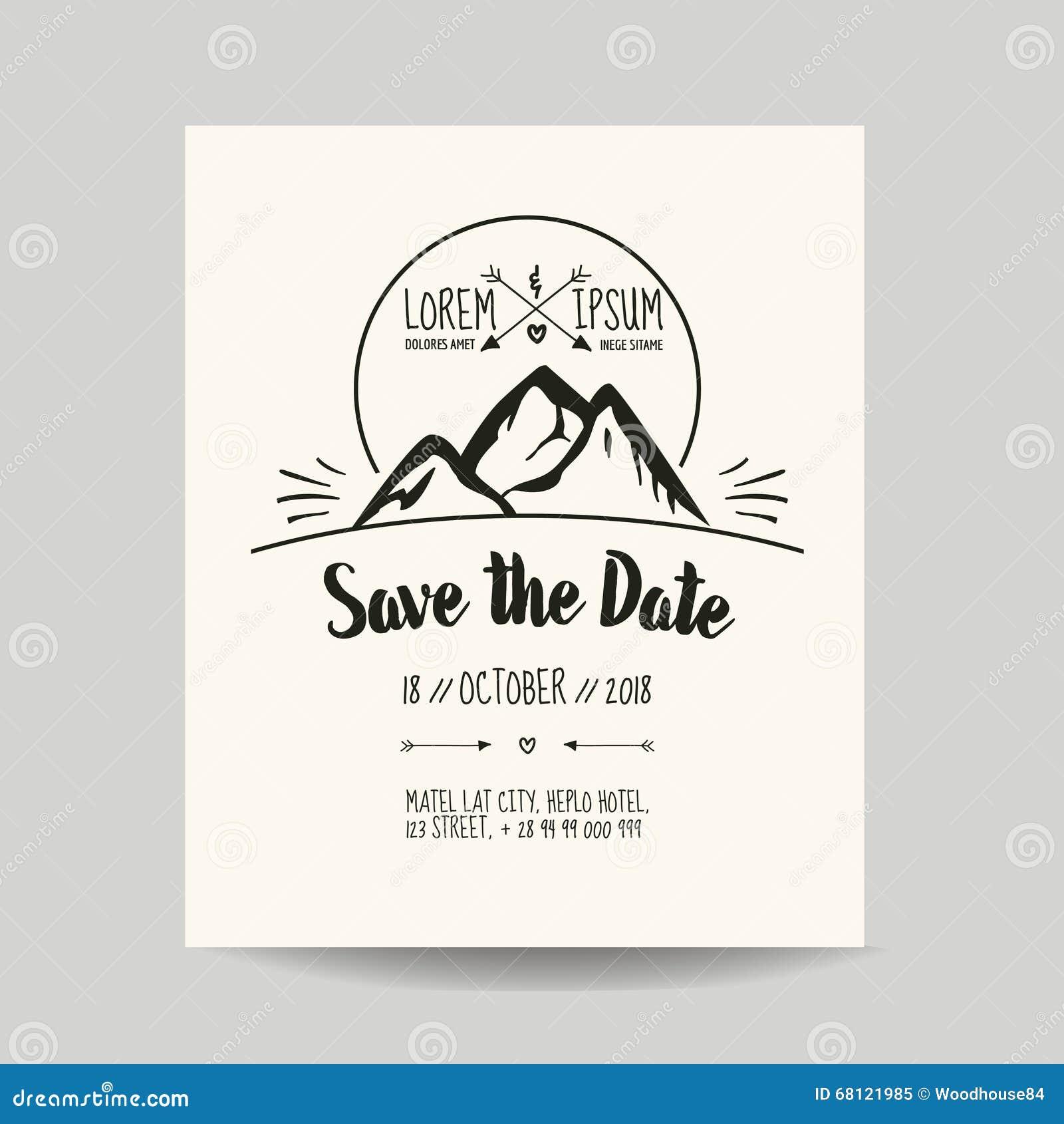 carte d 39 invitation de mariage avec la montagne. Black Bedroom Furniture Sets. Home Design Ideas