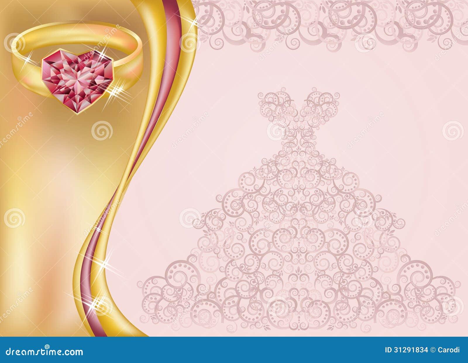 carte d 39 invitation de mariage avec la robe et le golde de. Black Bedroom Furniture Sets. Home Design Ideas