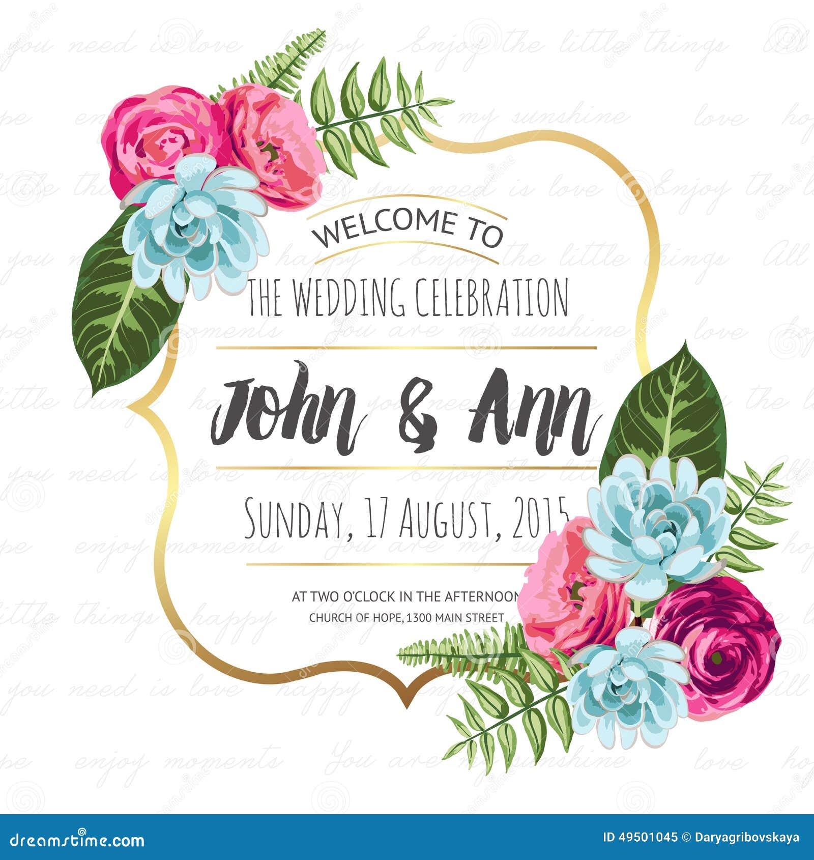 carte d 39 invitation de mariage avec les fleurs peintes photo stock image 49501045. Black Bedroom Furniture Sets. Home Design Ideas