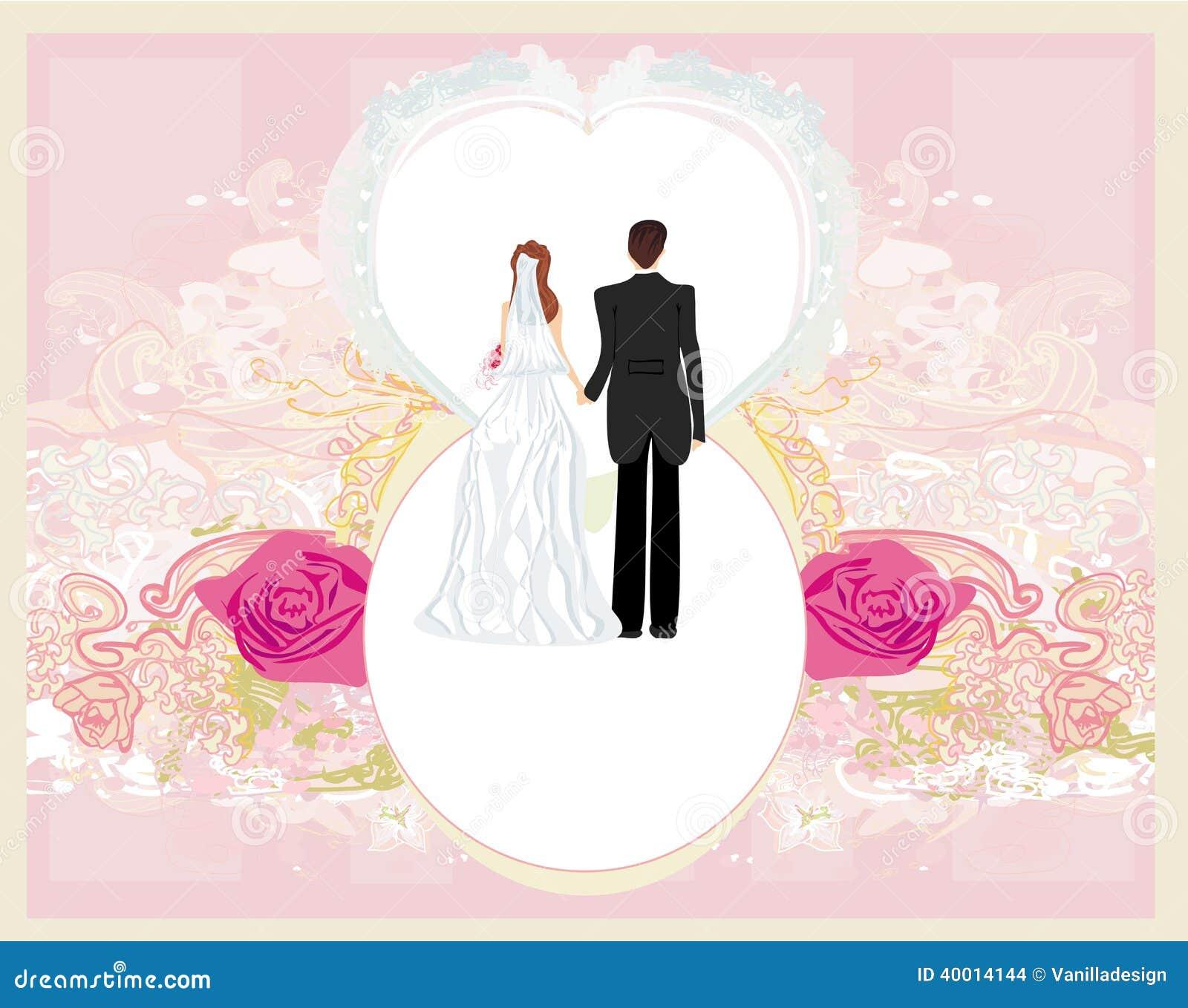 carte d 39 invitation de mariage avec un couple mignon. Black Bedroom Furniture Sets. Home Design Ideas
