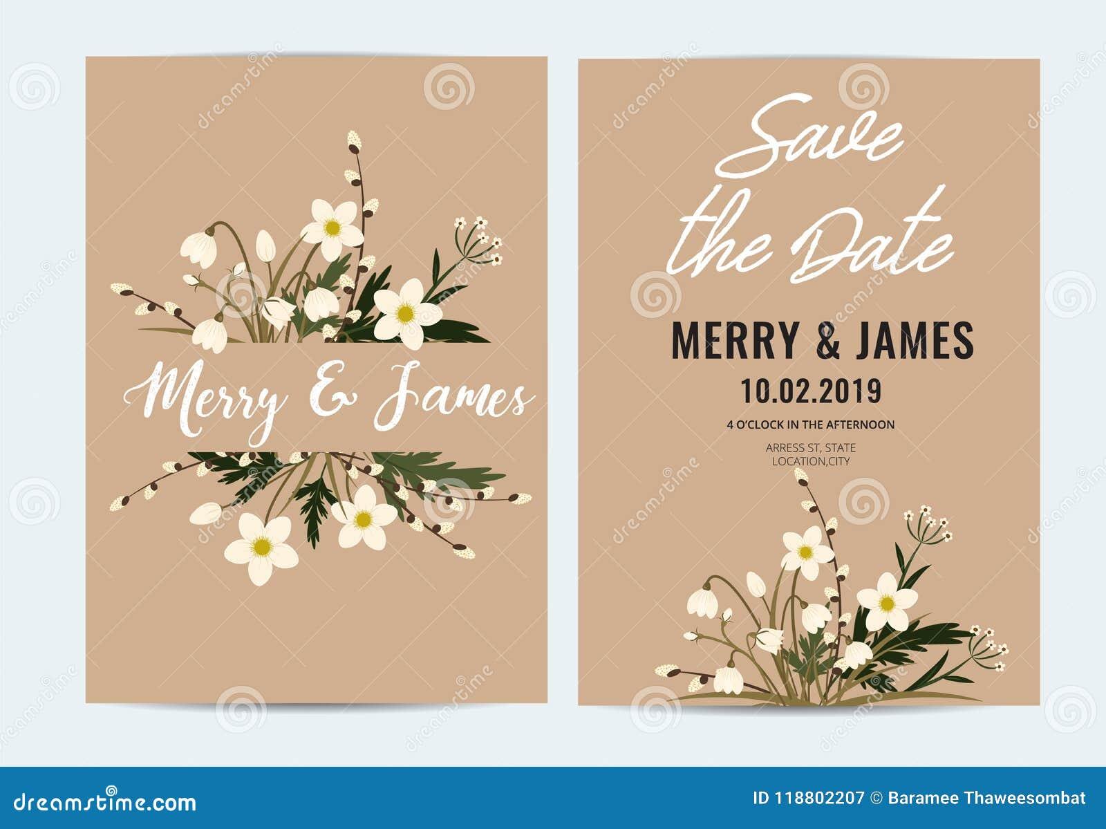 Carte D Invitation De Mariage De Vecteur Ensemble Rustique