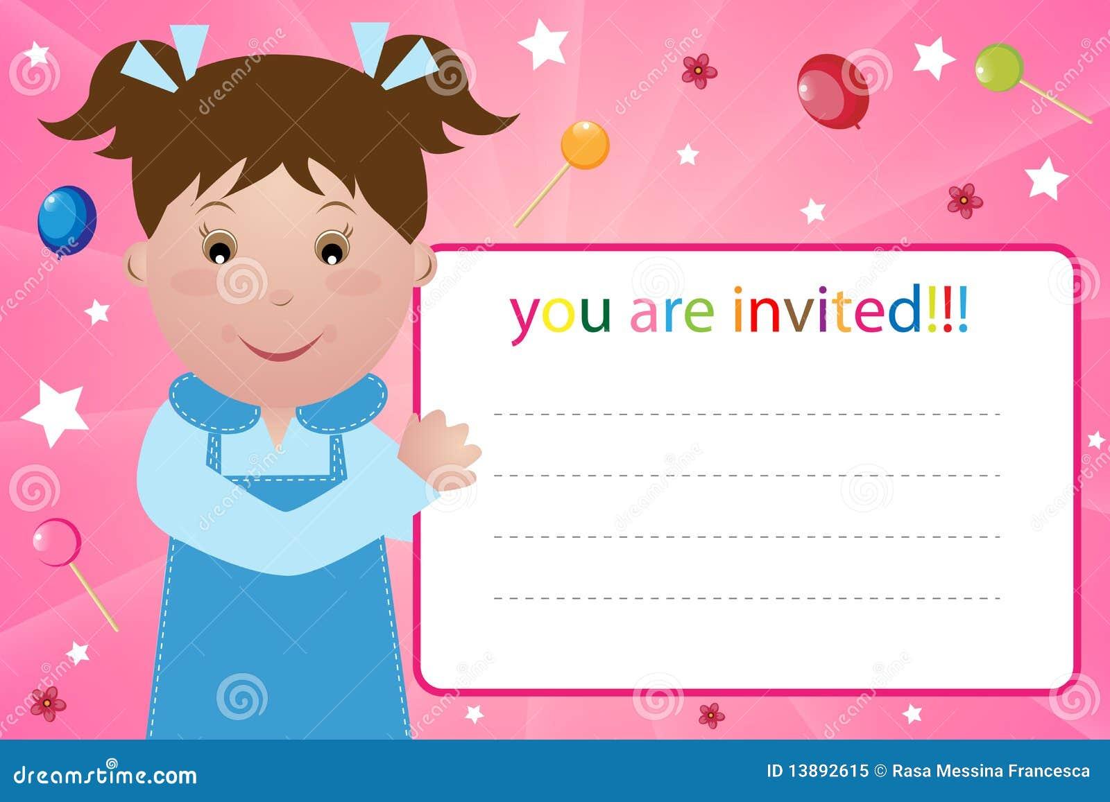 Carte d invitation de réception - fille