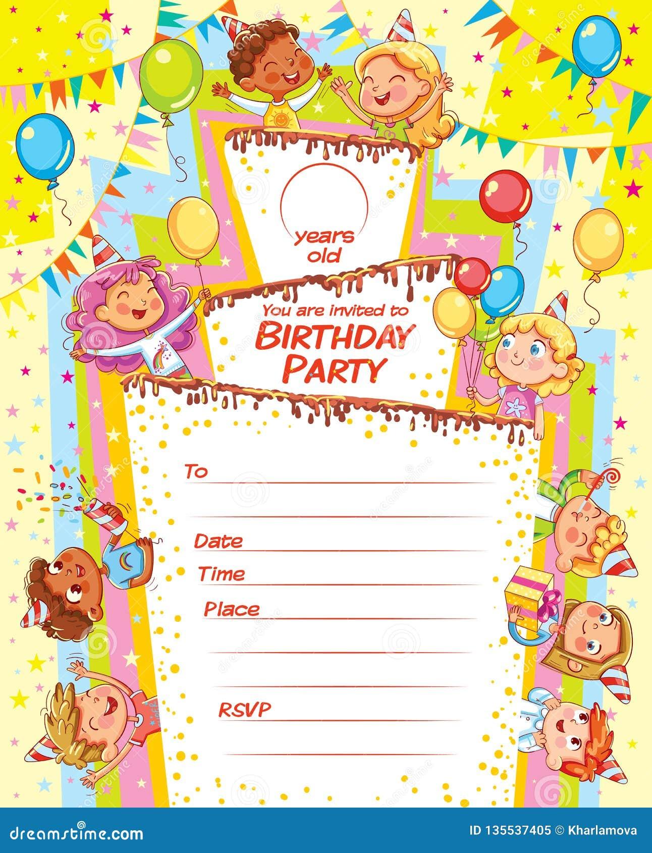 Carte D Invitation Pour La Fete D Anniversaire Illustration De Vecteur Illustration Du Invitation Anniversaire 135537405