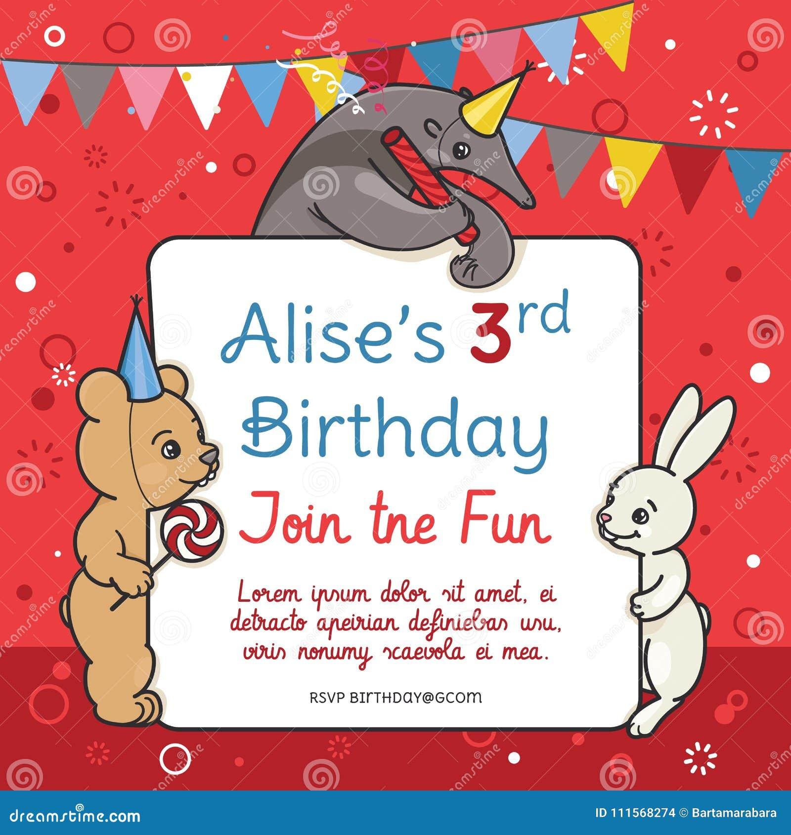 Quelque chose de nouveau assez Carte D'invitation Pour La Fête D'anniversaire Des Enfants S @KF_78