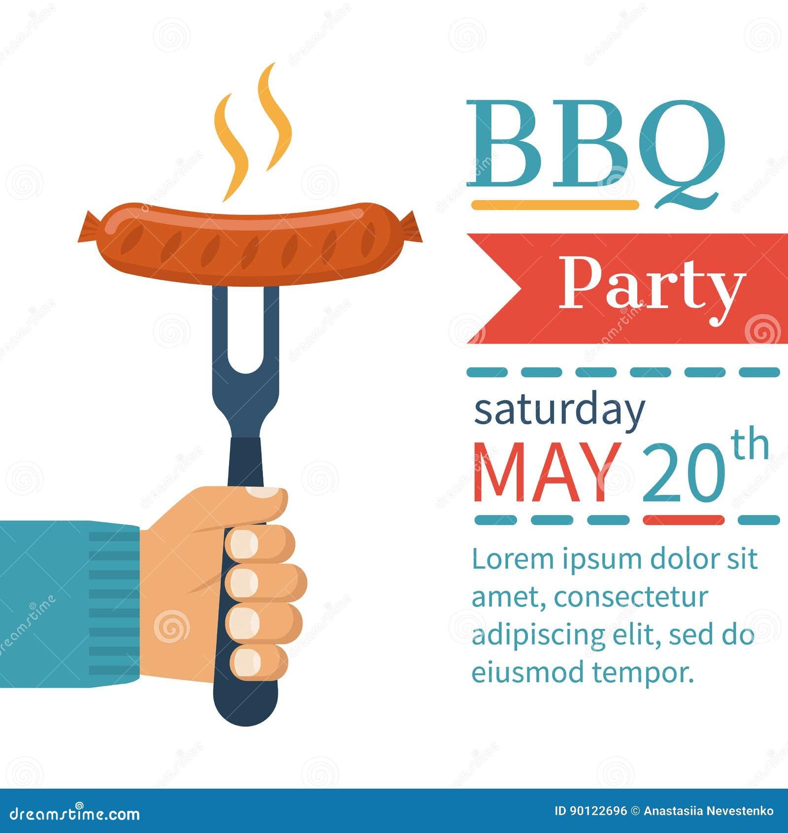 Carte d invitation sur le barbecue