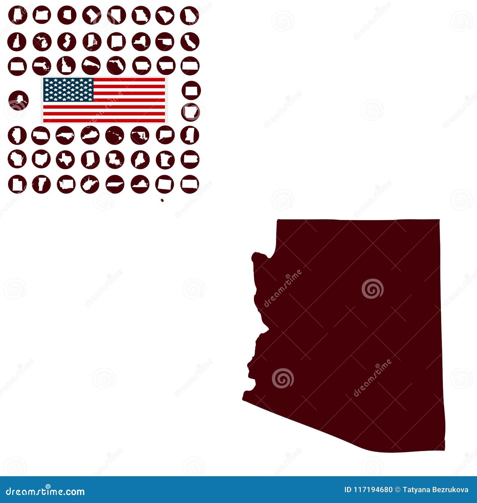 Carte d U S état de l Arizona sur un fond blanc