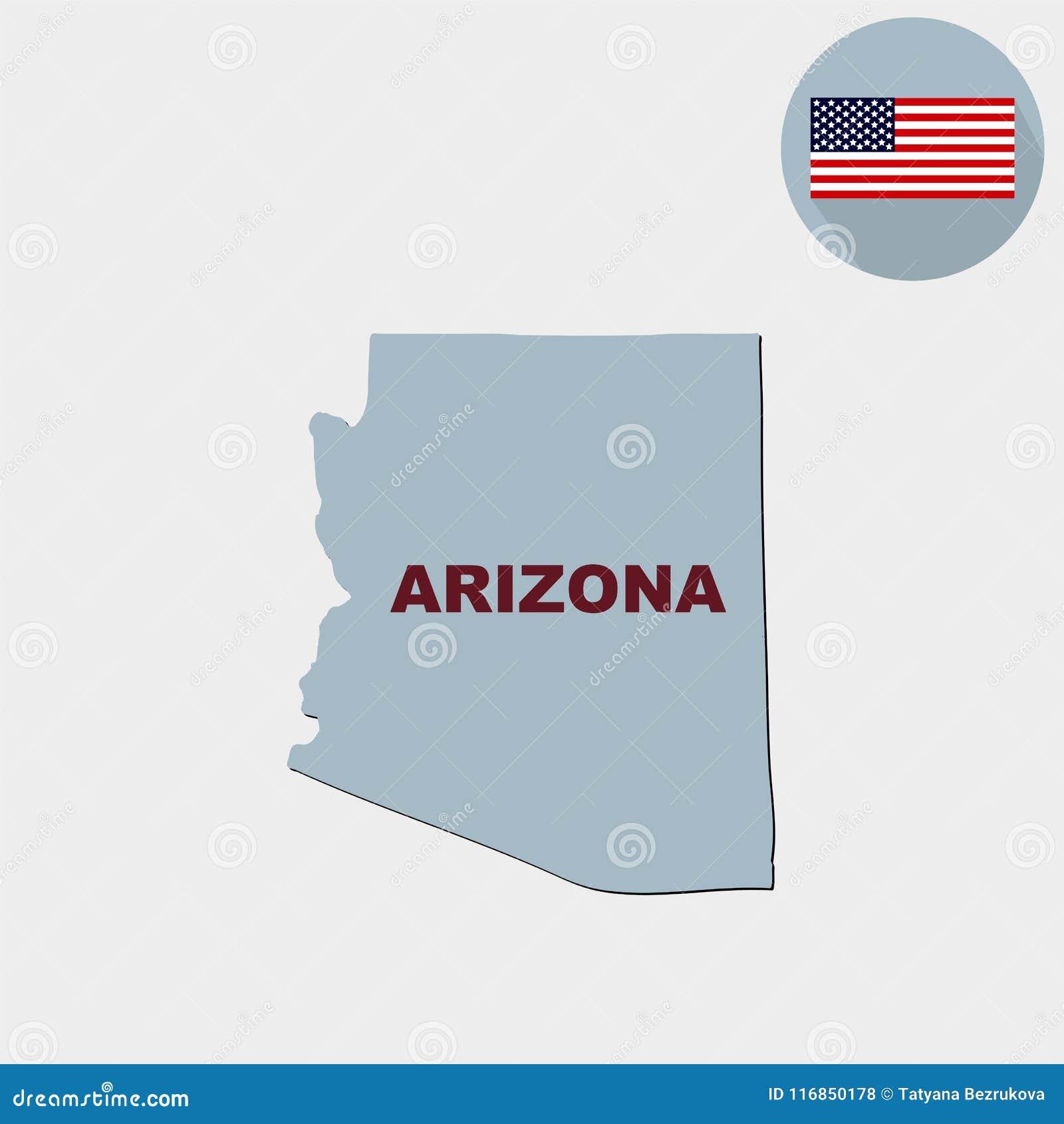 Carte d U S état de l Arizona sur un fond gris américain