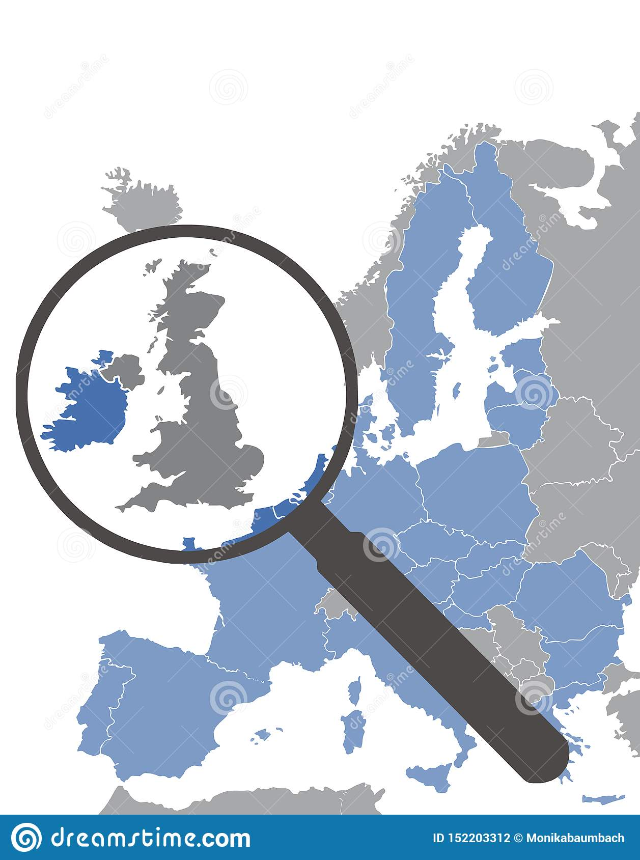 Carte d Union européenne sans l Angleterre après Brexit accentuant la Grande-Bretagne derrière la loupe