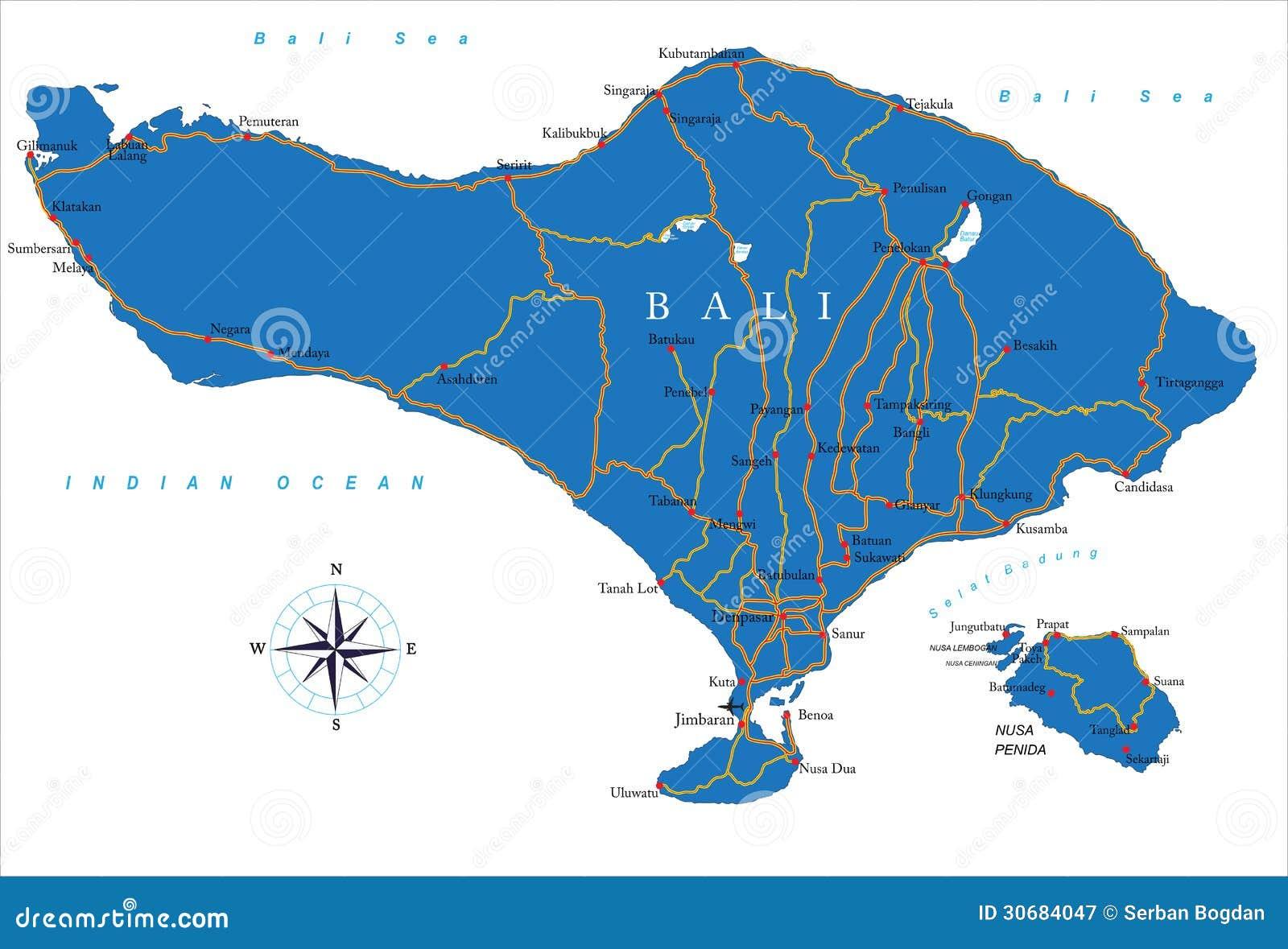 Carte Bali Candidasa.Carte De Bali Illustration De Vecteur Illustration Du