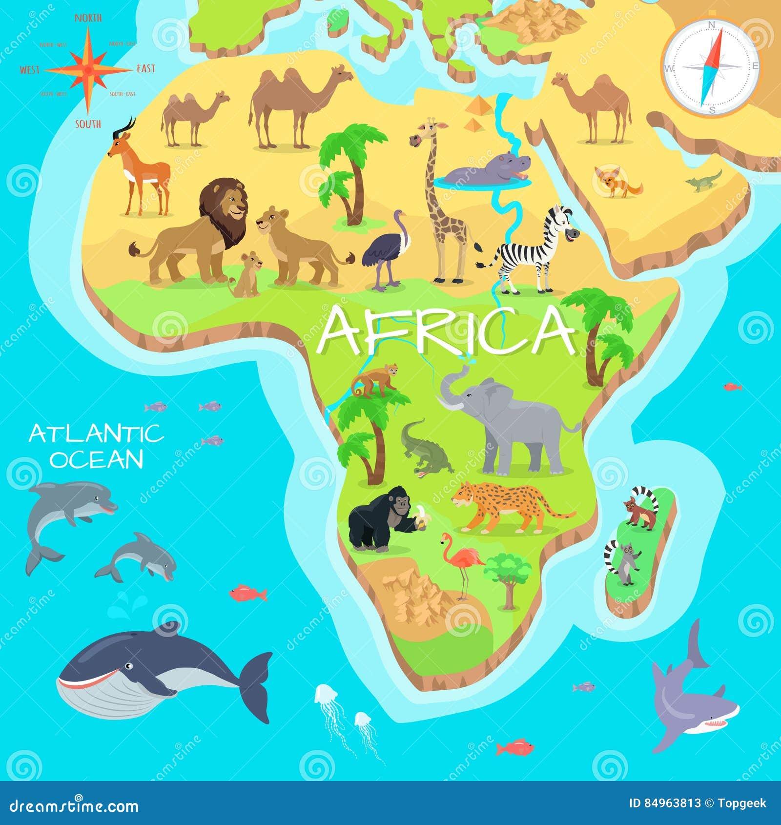 carte de bande dessin233e de continent de lafrique avec des