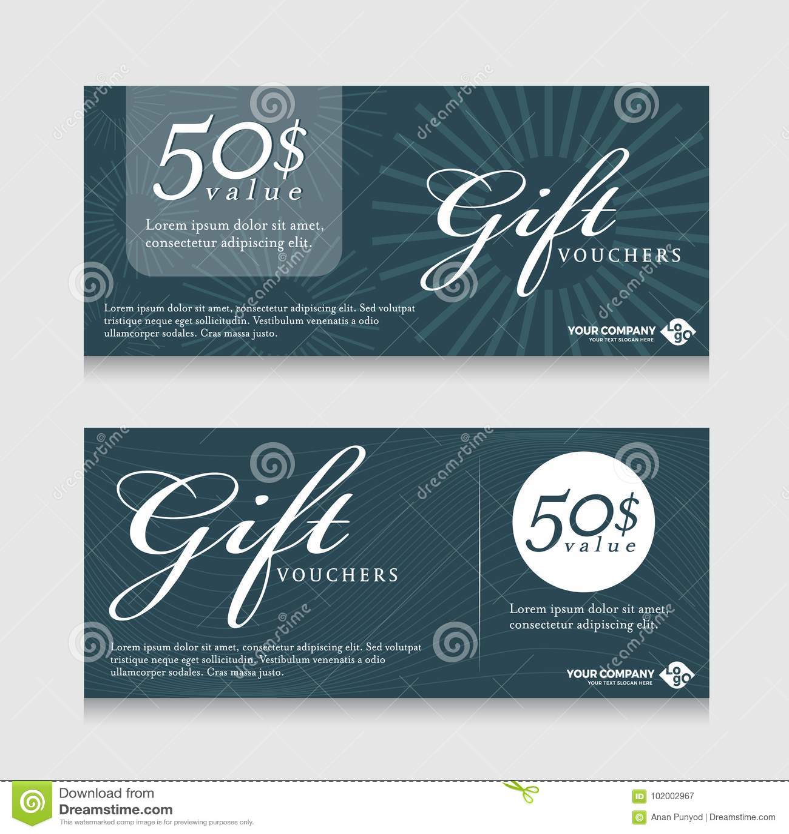 Carte de bannière de bons de cadeau avec le texte sur la ligne abstraite conception bleu-foncé de vecteur de fond de ton de textu