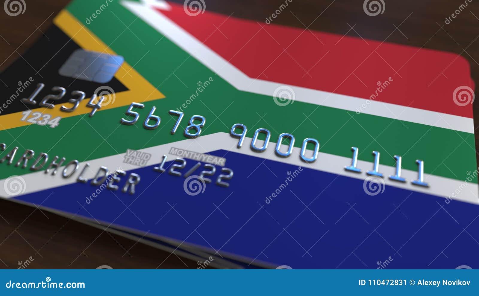 Carte Bancaire Afrique Du Sud.Carte De Banque En Plastique Comportant Le Drapeau De L Afrique Du Sud Animation Reliee Au Systeme D Operations Bancaires Nationa
